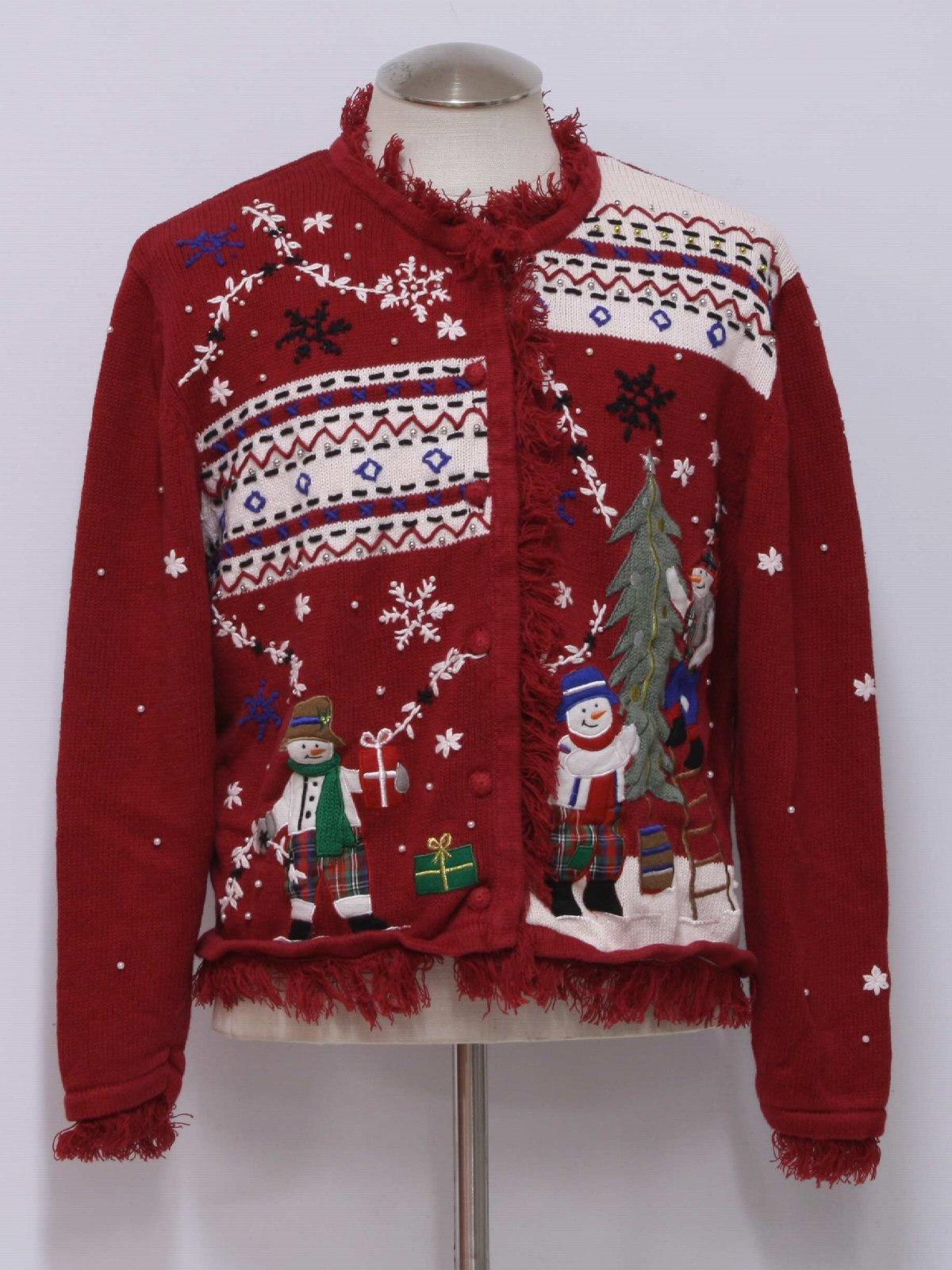 Womens ugly christmas sweater erika womens red for Fishing ugly christmas sweater