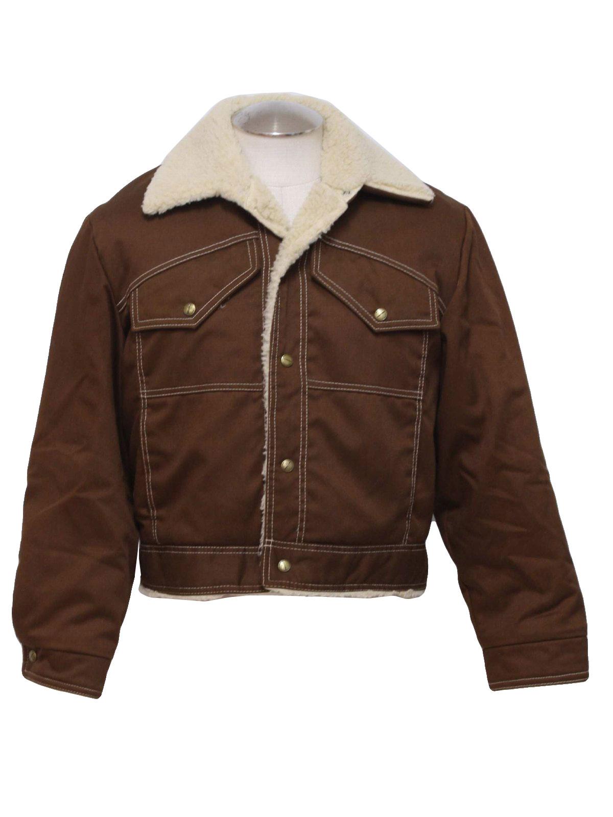 Vintage 1970&39s Jacket: 70s -J C Penney- Mens brown cotton