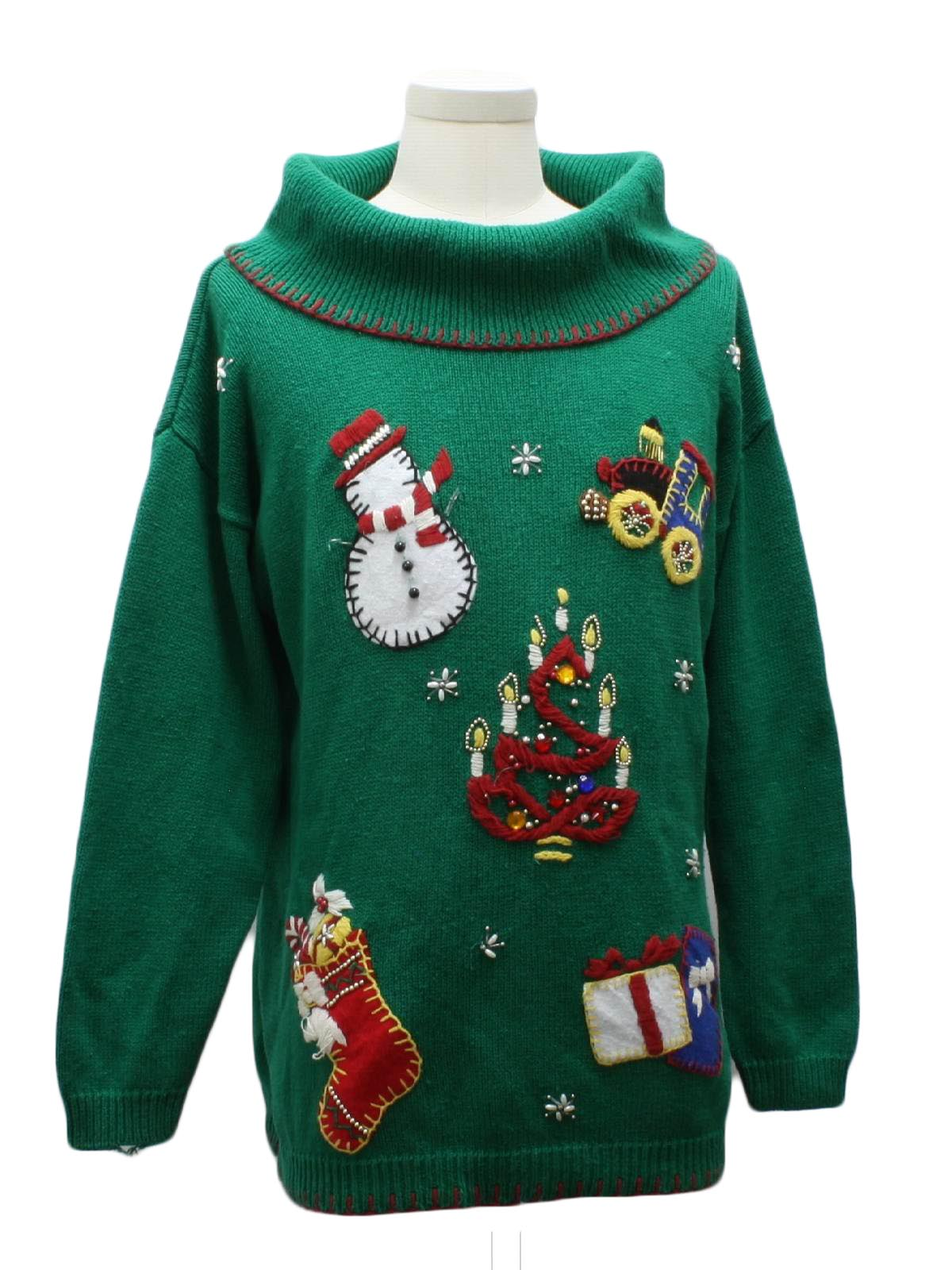 Womens Ugly Christmas Sweater: -Victoria Jones- Womens green background ramie cotton blend longsleeve pullover ugly Christmas sweater, bulky turtle neck ...