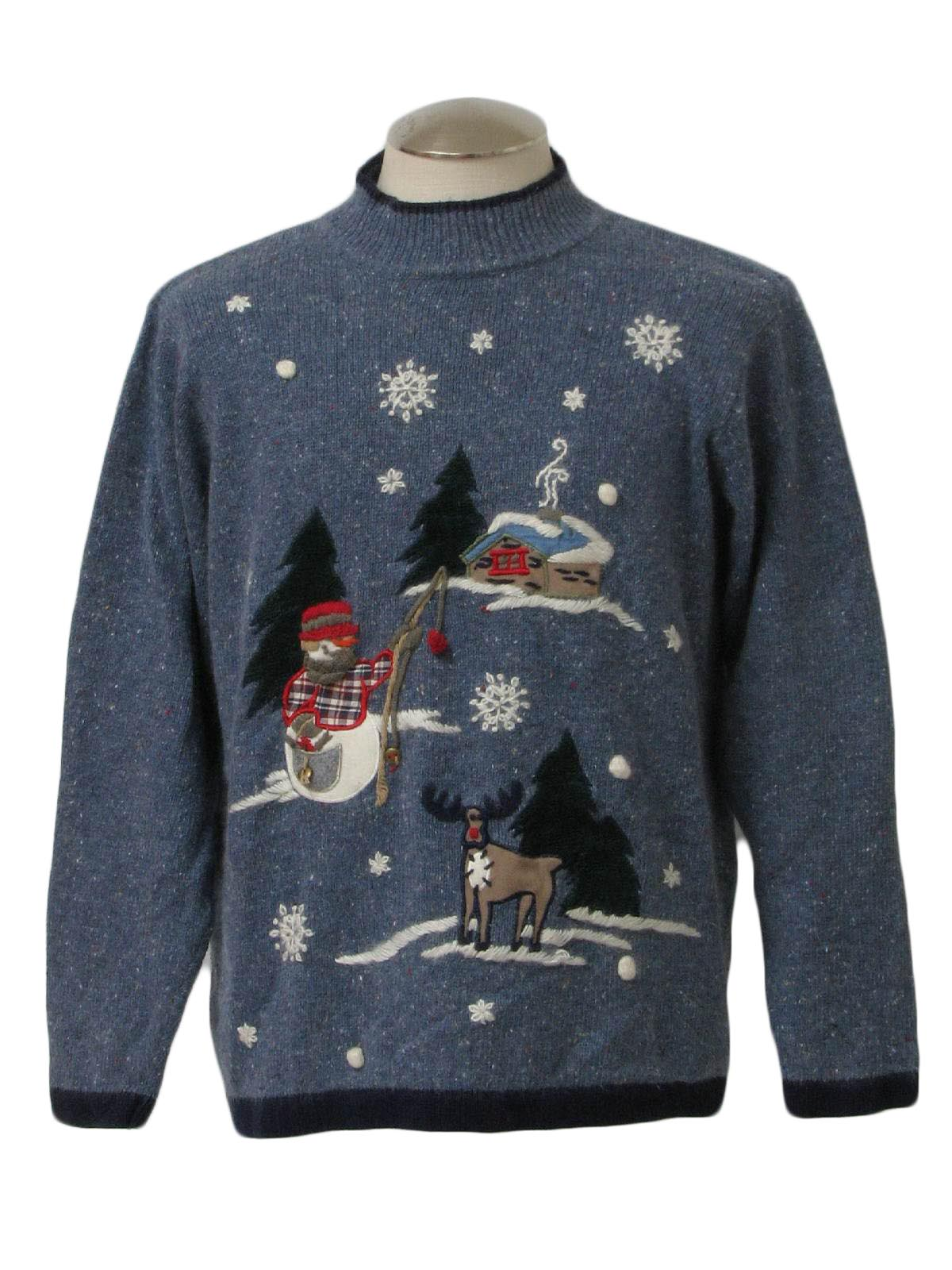 Fishing snowman ugly christmas sweater victoria jones for Fishing ugly christmas sweater