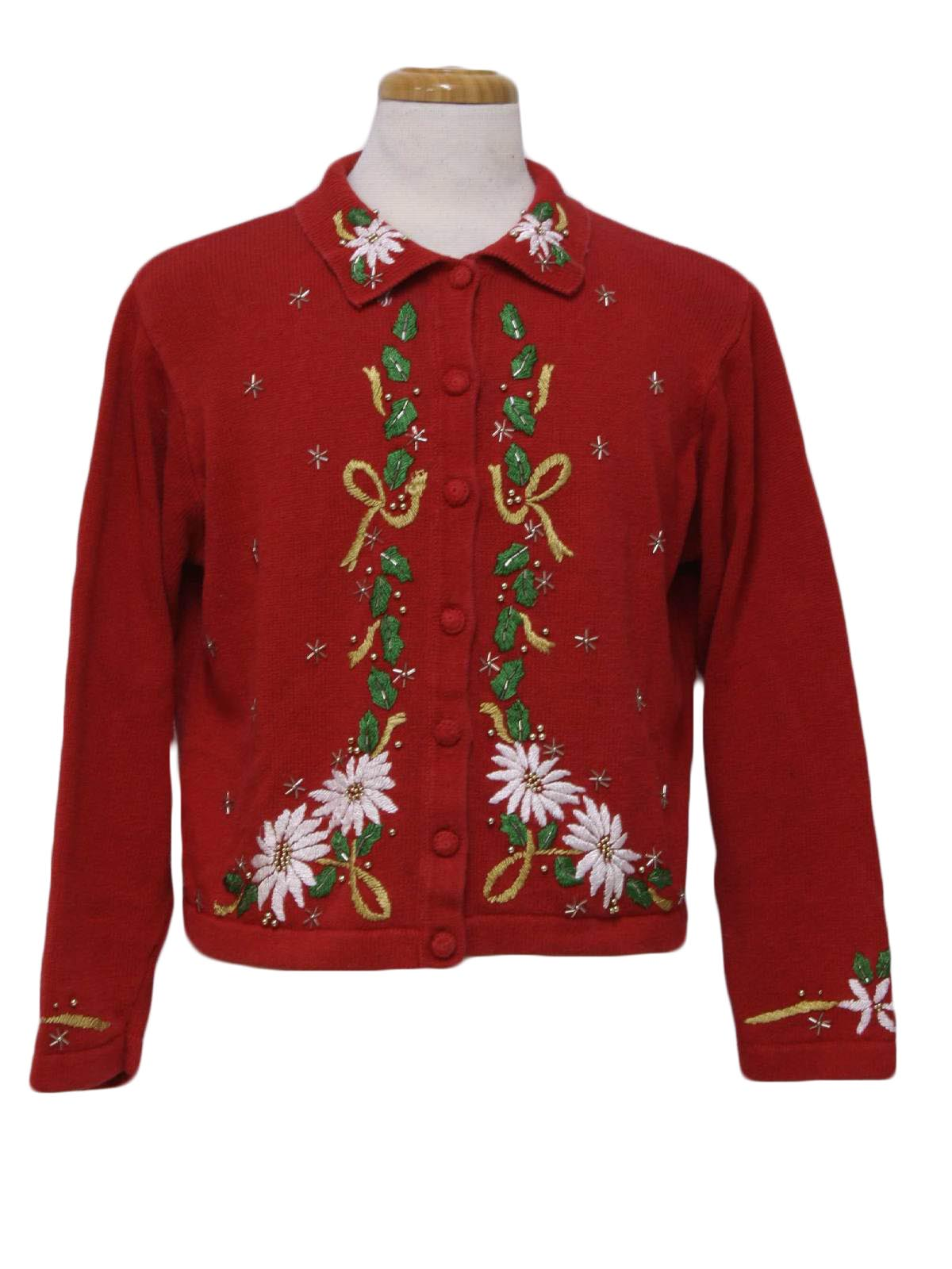 Womens Ugly Christmas Sweater Victoria Jones Womens Red