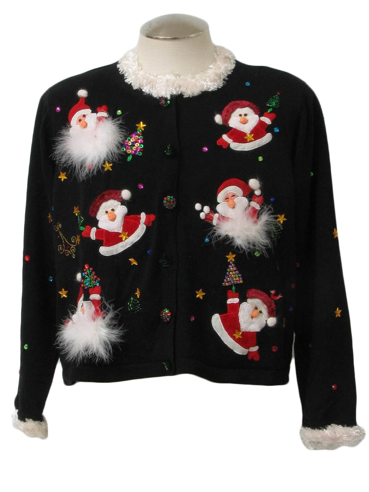 Womens Ugly Christmas Sweater ,Berek, Womens black background ramie cotton  blend button front longsleeve ugly Christmas sweater, white plush acrylic  faux