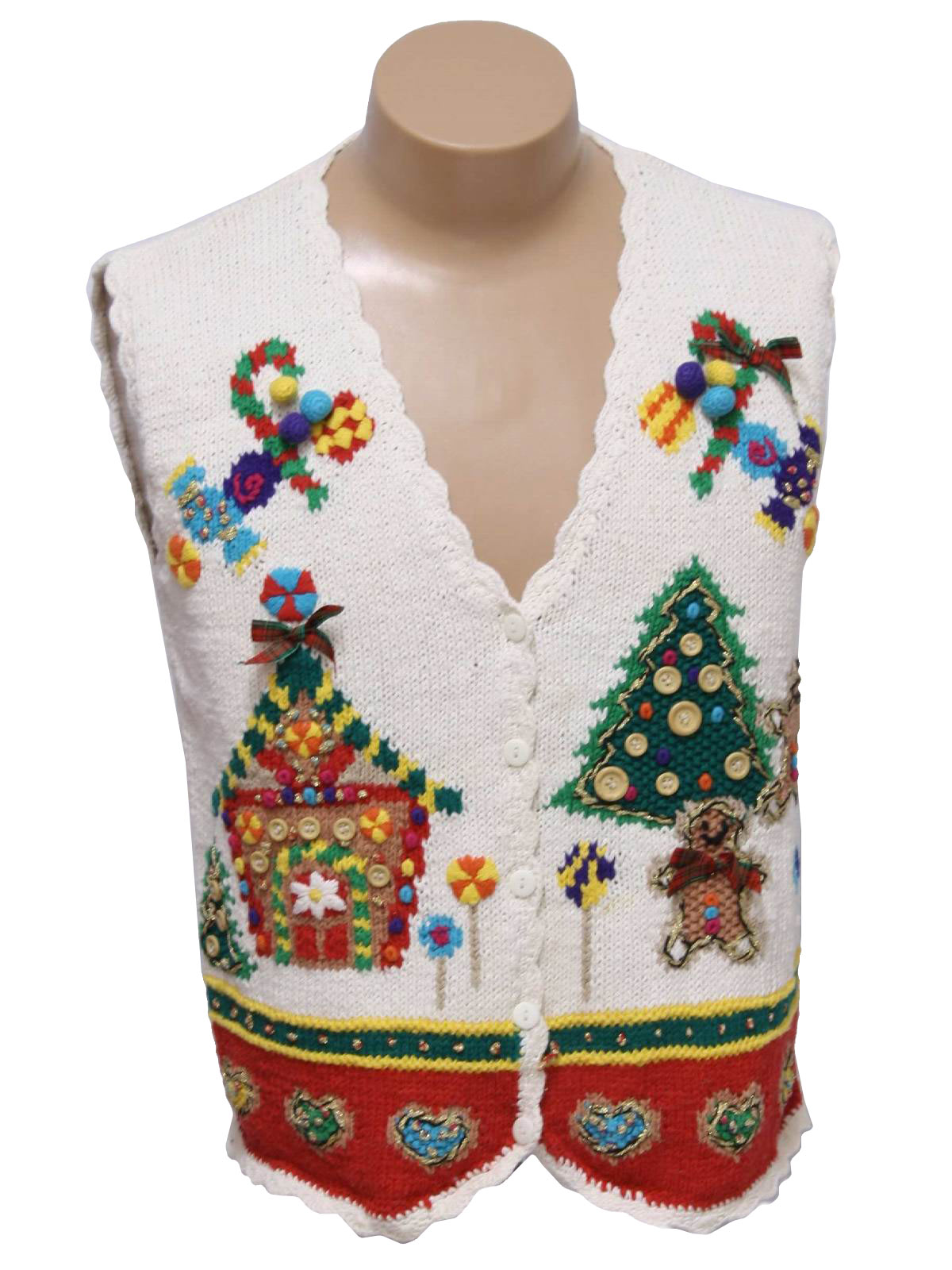 Christmas sweater vest v neckline with candy candy canes a ginger