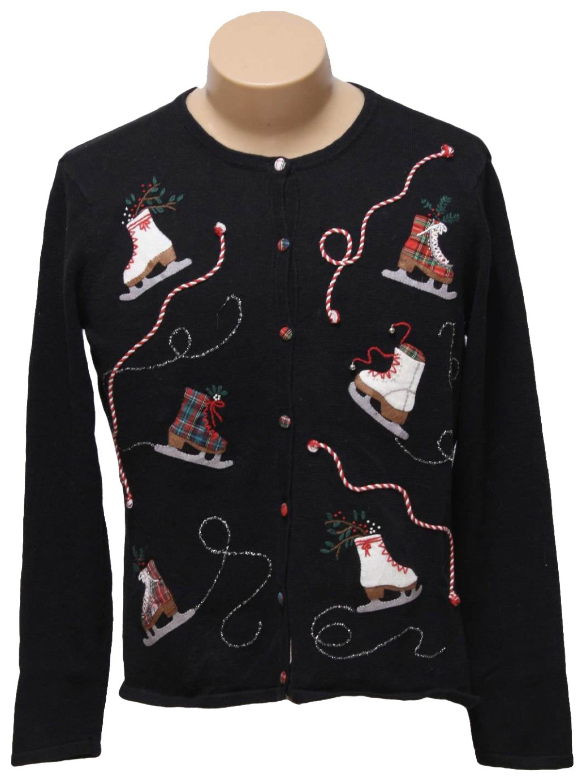 womens ugly christmas sweater cambridge dry goods womens black background ramie cotton blend button front long sleeve ugly christmas sweater - Black Ugly Christmas Sweater