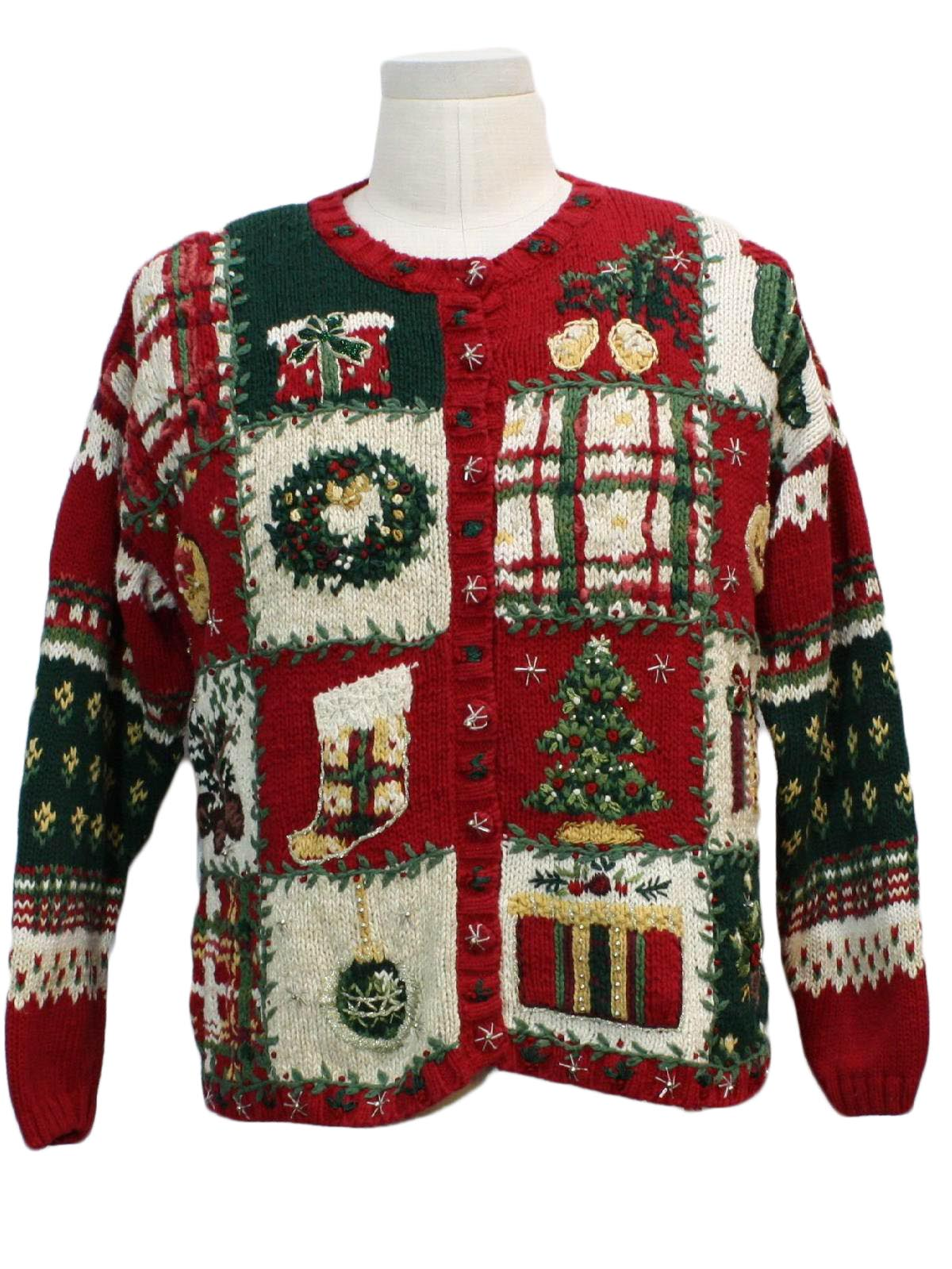 Womens Country Kitsch Ugly Christmas Sweater 80s Style Tiara