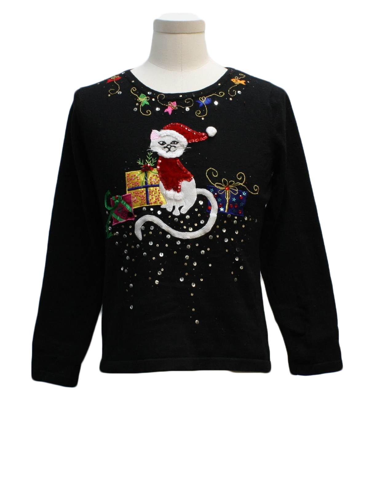 Womens cat tastic ugly christmas sweater jack b quick for Fishing christmas sweater