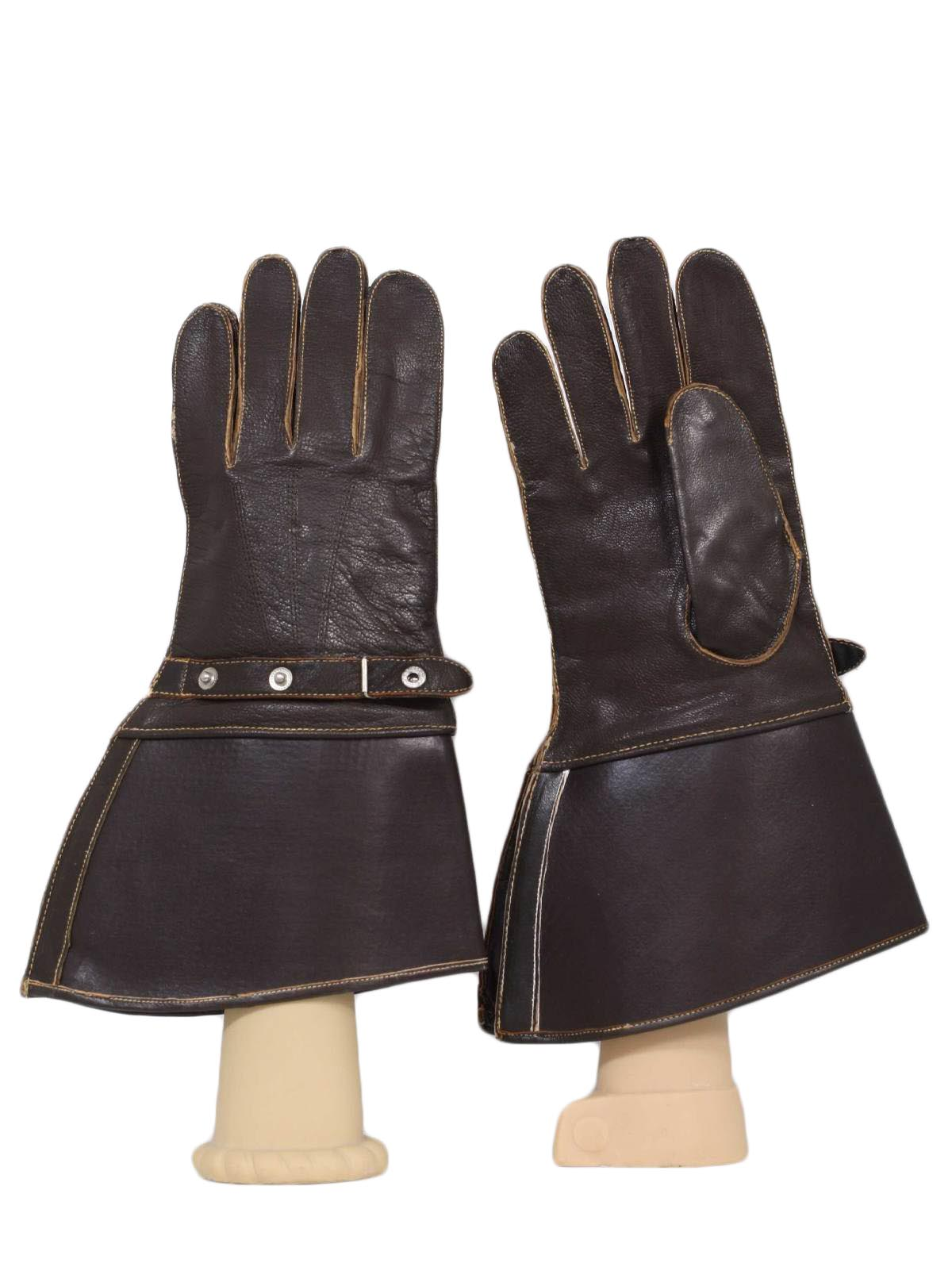 Vintage mens leather gloves - 50s Vintage J F Stocko Gloves 50s J F Stocko Mens Brown Smooth Leather Motorcycle Or Pilot Gloves With Attached Gusseted Wrist Gauntlets