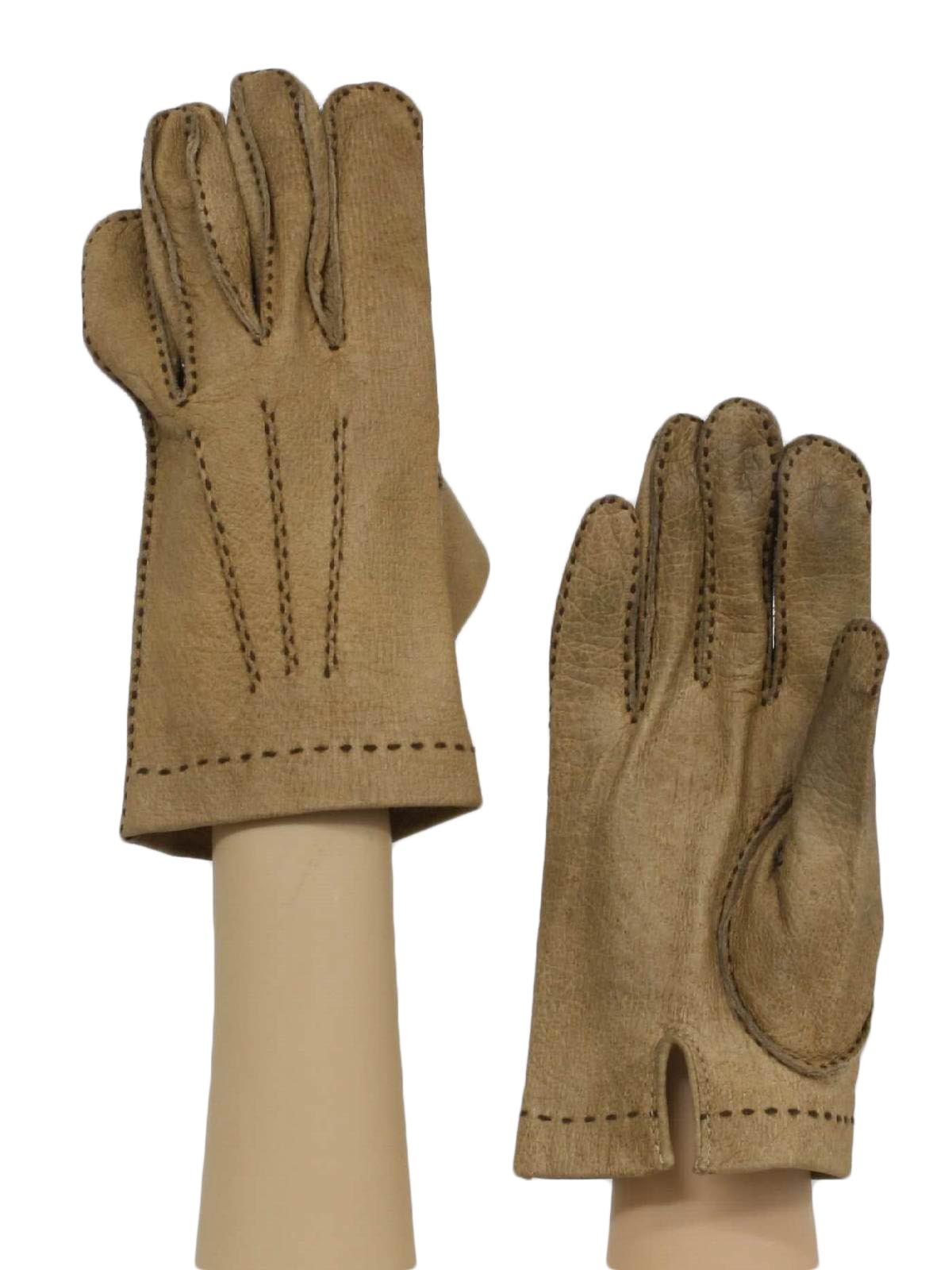 Vintage mens leather gloves - 1960s Vintage Gloves 60s No Label Mens Tan Pigskin Leather Dress Gloves With Decorative Topstitching Unlined Some Light Soiling