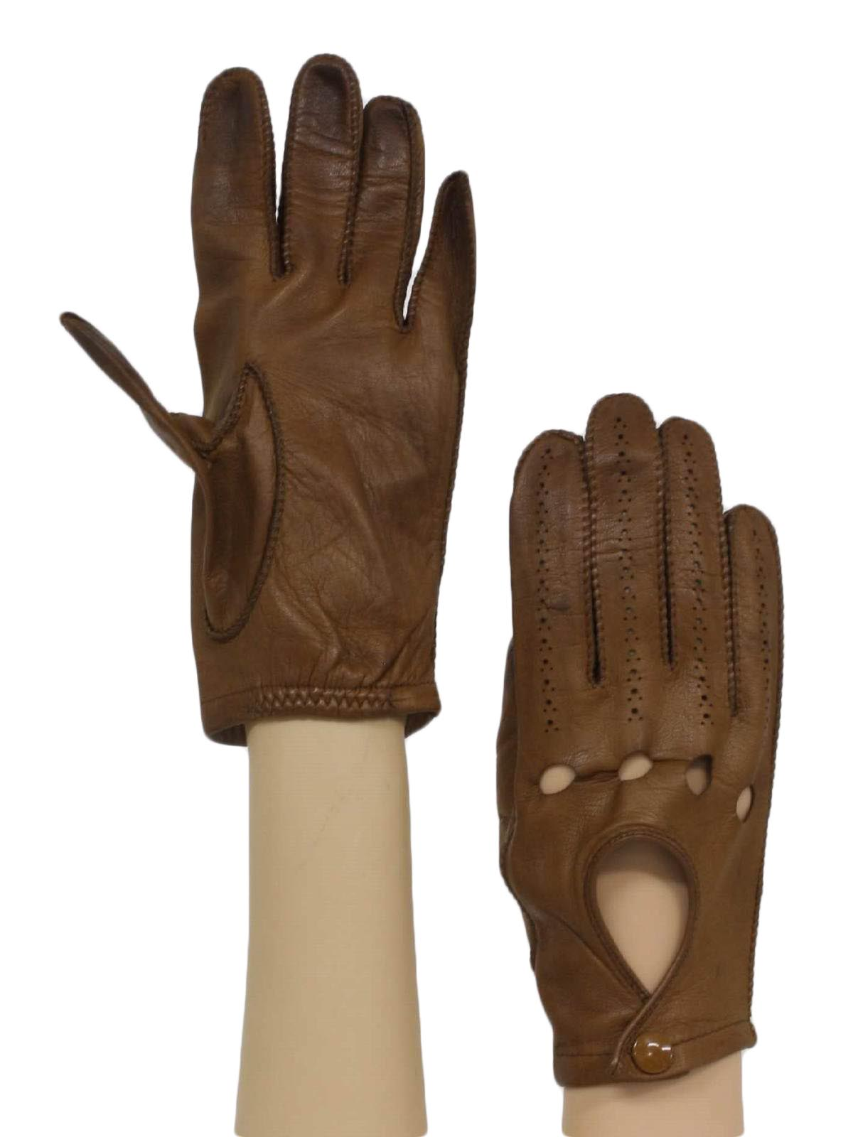 Vintage mens leather gloves - 1970 S Vintage Gloves 70s No Label Mens Soft Smooth Brown Leather Driving Gloves With Ventilated Fingers And Knuckles Solid Palm