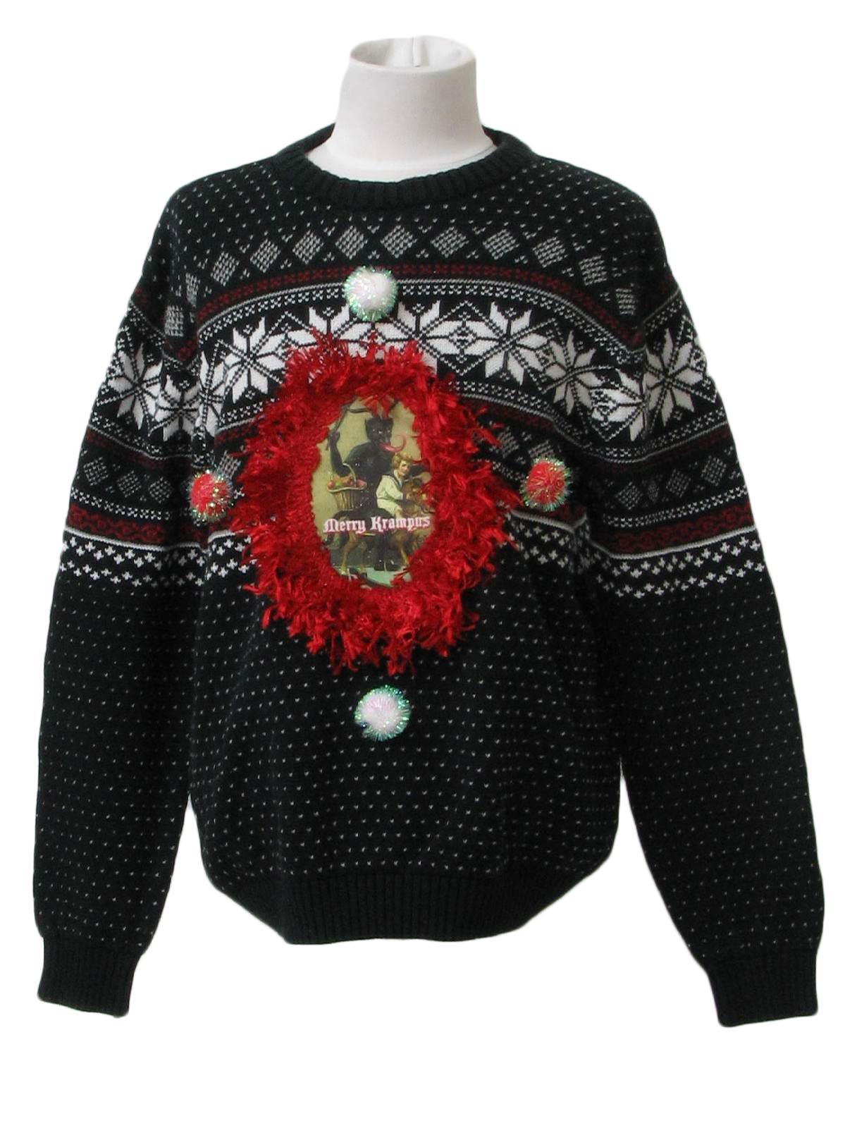 childrens ugly krampus christmas sweater pb basics scare the little kiddies with your very own krampus sweater in european legend krampus travels with - Childrens Ugly Christmas Sweaters