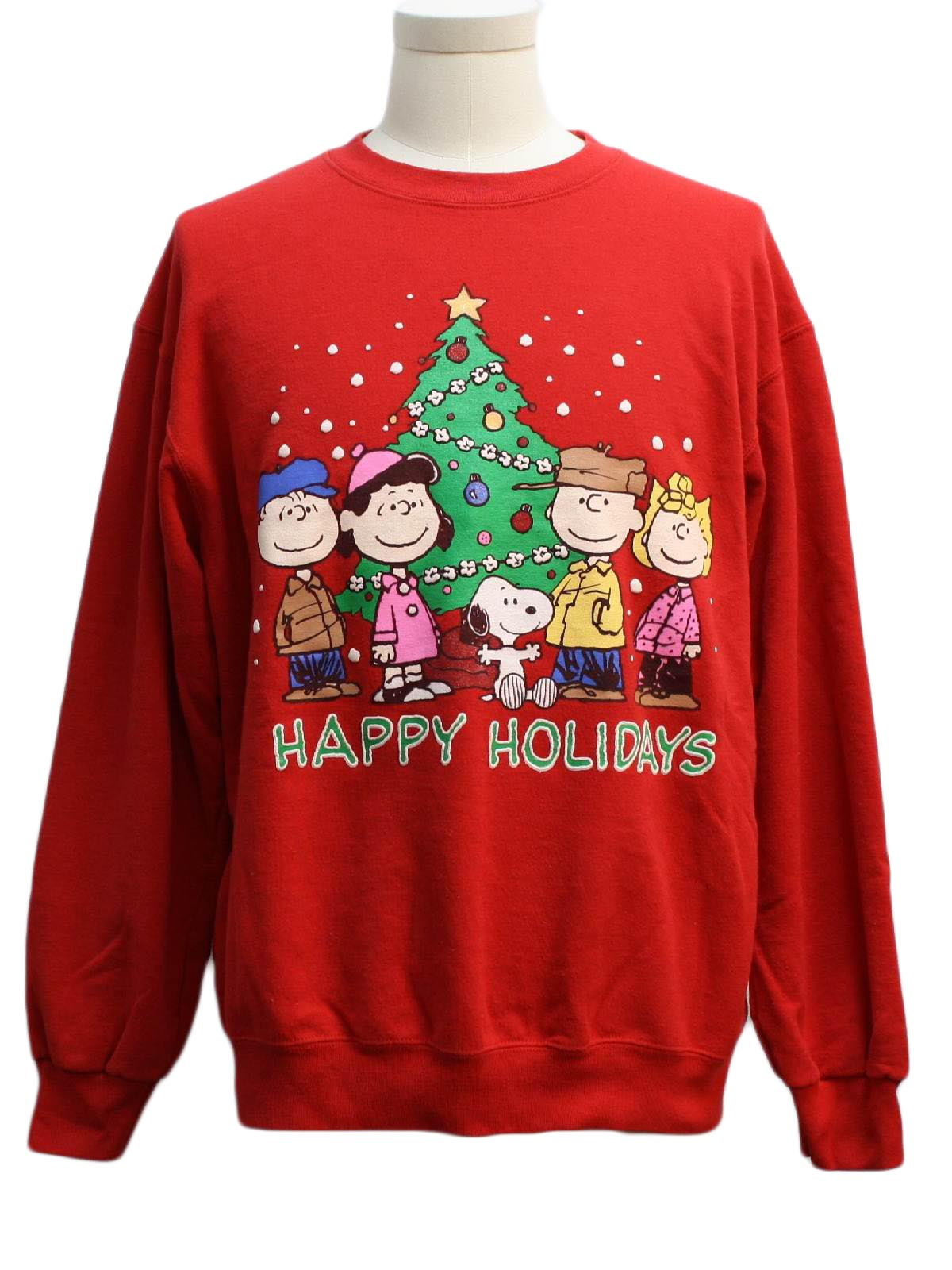 ugly christmas sweatshirt peanuts unisex red background cotton polyester blend longsleeve pullover ugly christmas sweatshirt with charlie brown lucy