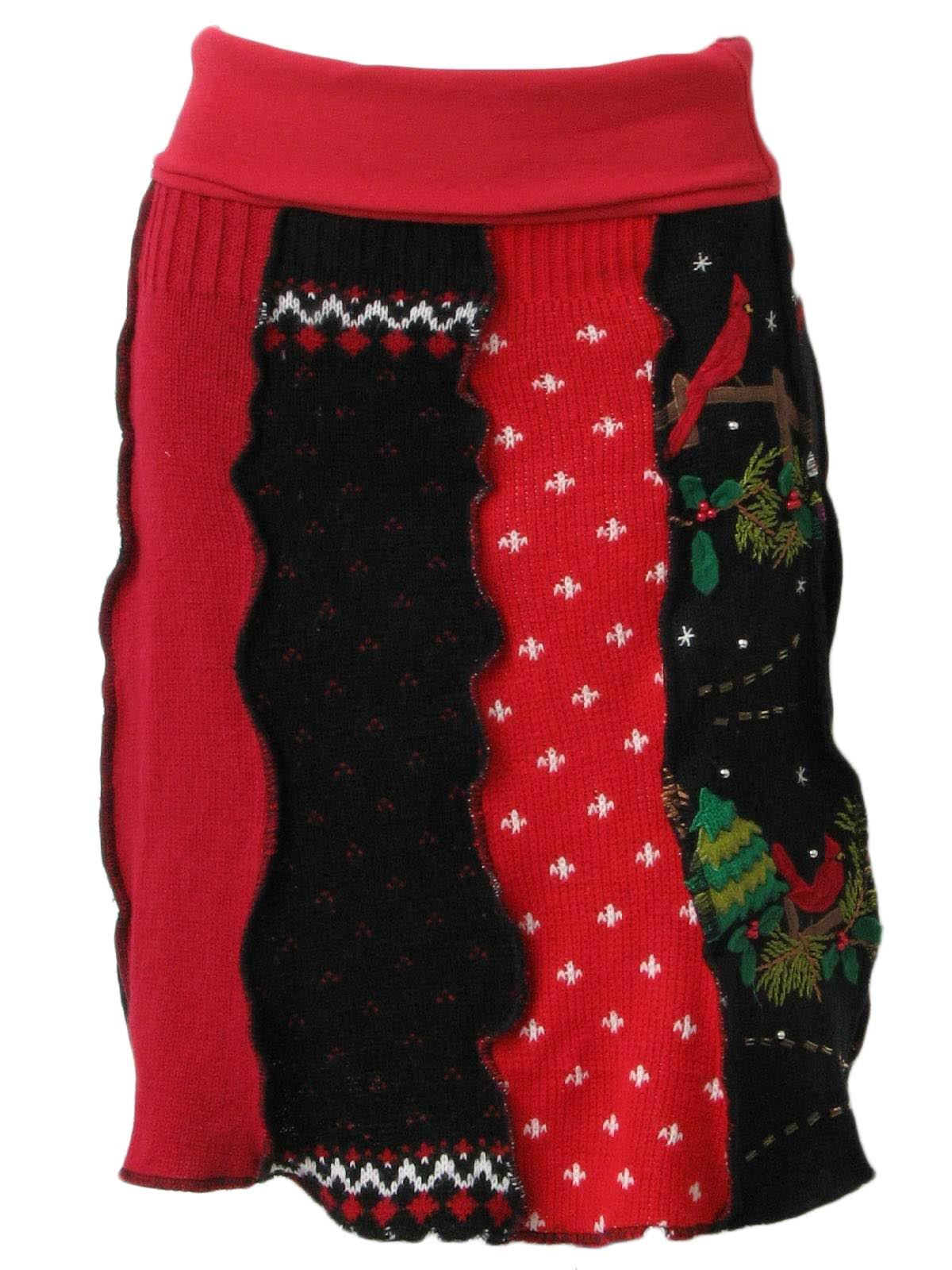 Retro 1980's Womens Ugly Christmas Sweater Skirt (of) : Womens Unique