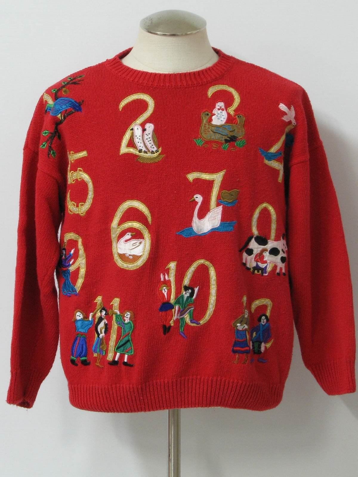 12 Days Of Ugly Christmas Sweater Retro Look Tally Ho Unisex Red