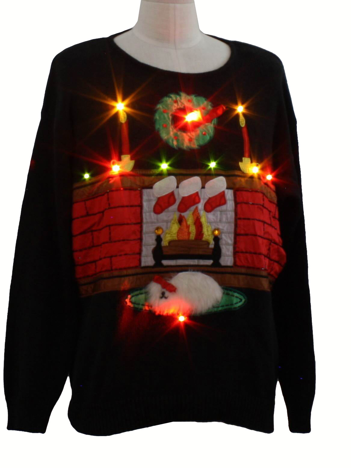 Lightup Ugly Christmas Sweater Work In Progress Unisex Black Background Ramie Cotton Blend