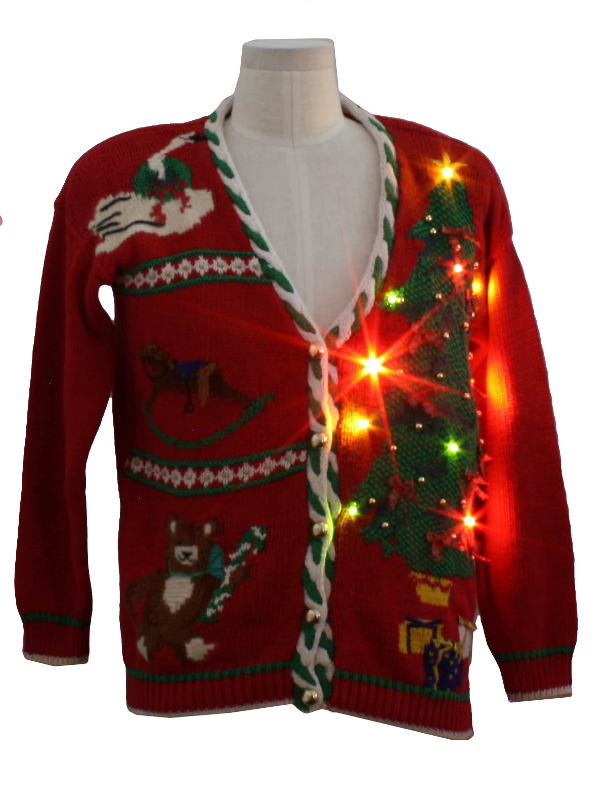 ... Nordstrom Town Square Unisex Lightup Ugly Christmas Cardigan Sweater