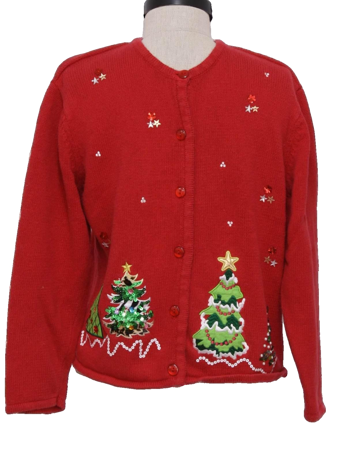 womens ugly christmas sweater traditions great northwest clothing company womens red background cotton ramie blend button front longsleeve ugly