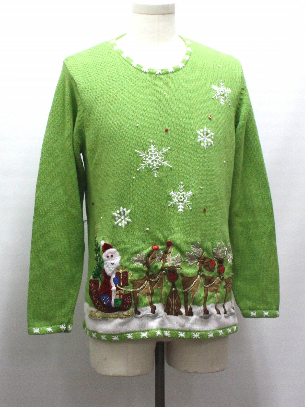Ugly Christmas Sweater Quacker Factory Unisex Lime