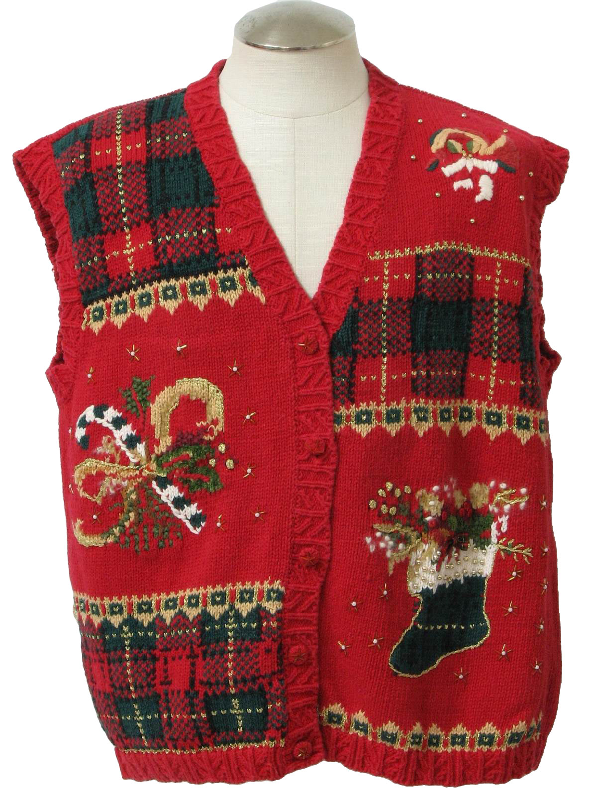 Christmas sweater vest veed neckline with a french horn a candy cane