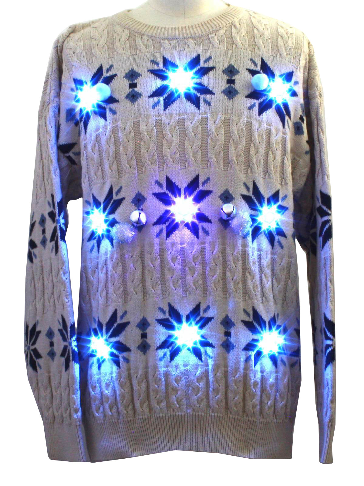 Mens Super Jew Lightup Cable Knit Ugly Christmas Style Lightup