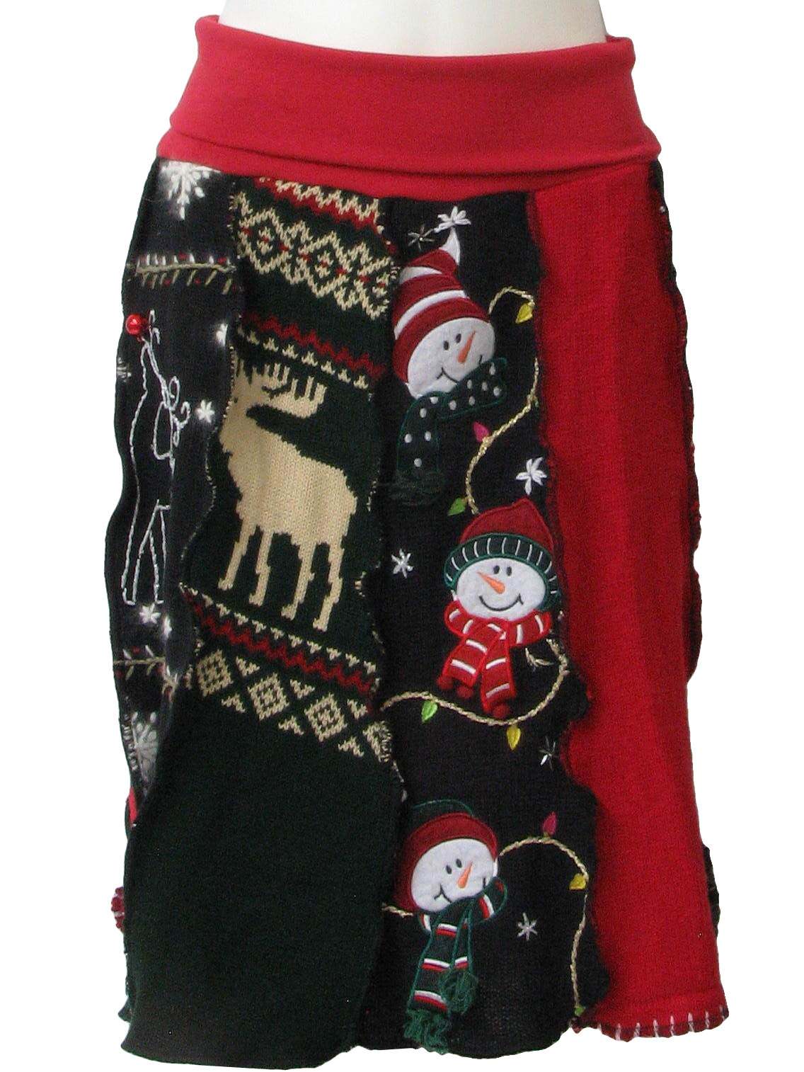 eighties vintage womens ugly christmas sweater skirt womens unique one of a kind holiday knit skirt hand made from repurposed ugly christmas sweaters - Unique Christmas Sweaters
