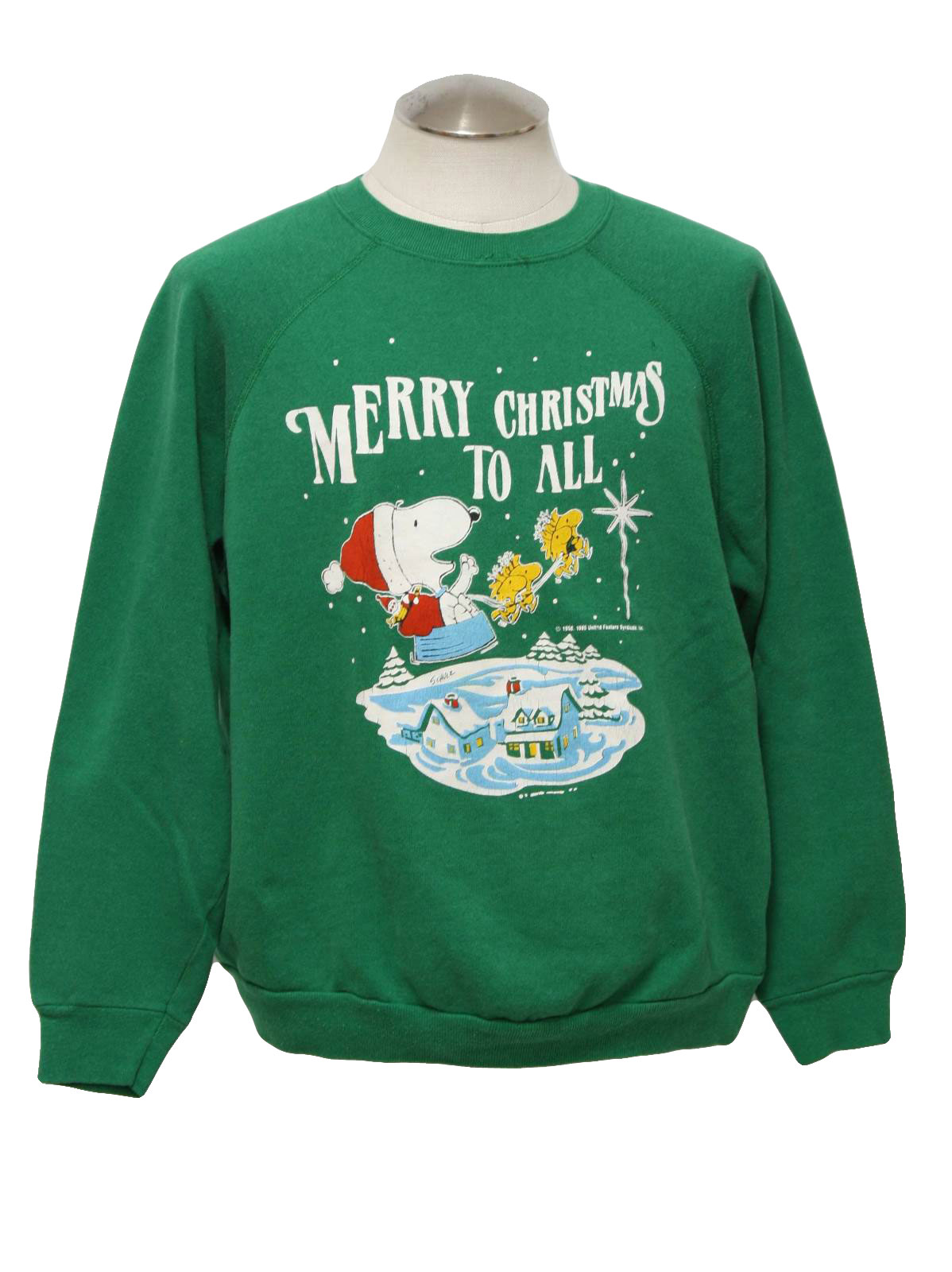 1980s vintage snoopy ugly christmas sweatshirt 80s authentic vintage artex unisex green background cotton acrylic blend pullover longsleeve ugly - Snoopy Christmas Shirt