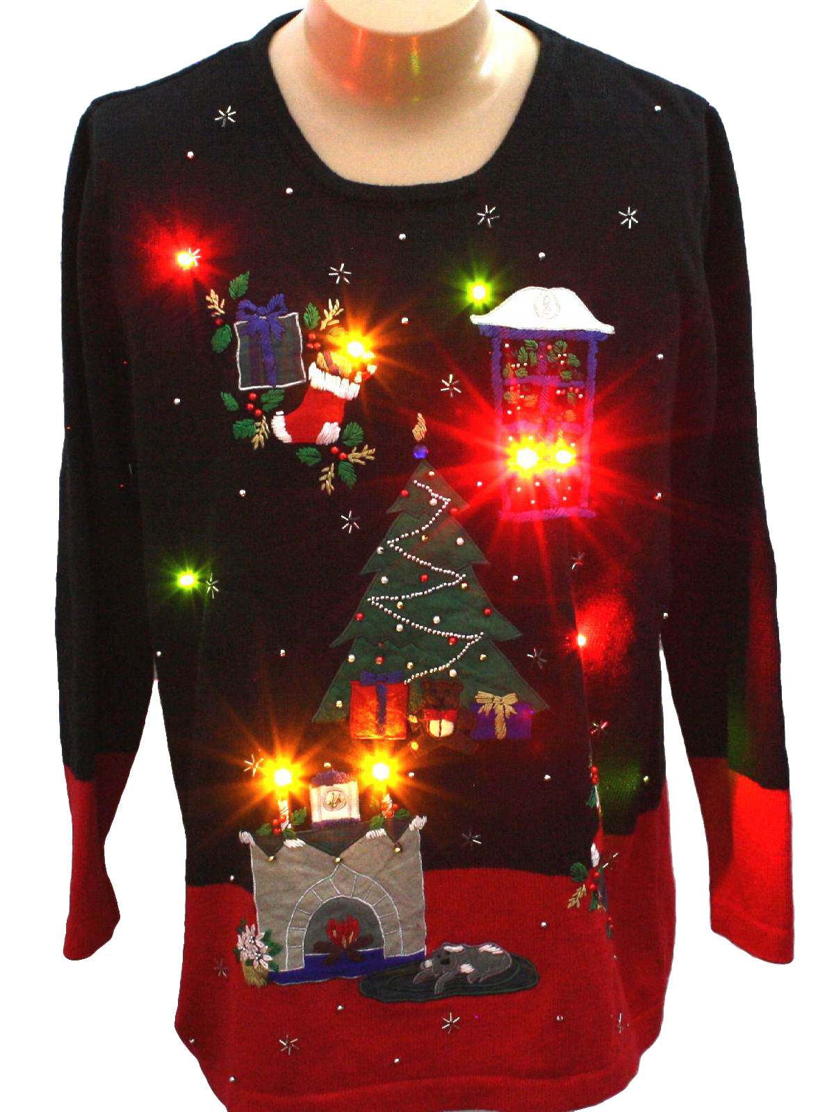 lightup ugly christmas sweater nutcracker unisex black