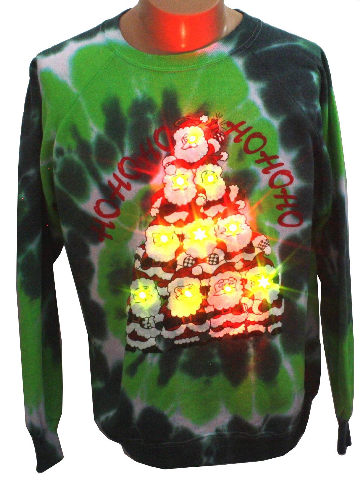 Light Up Tie Dyed Ugly Christmas Sweatshirt Star Unisex