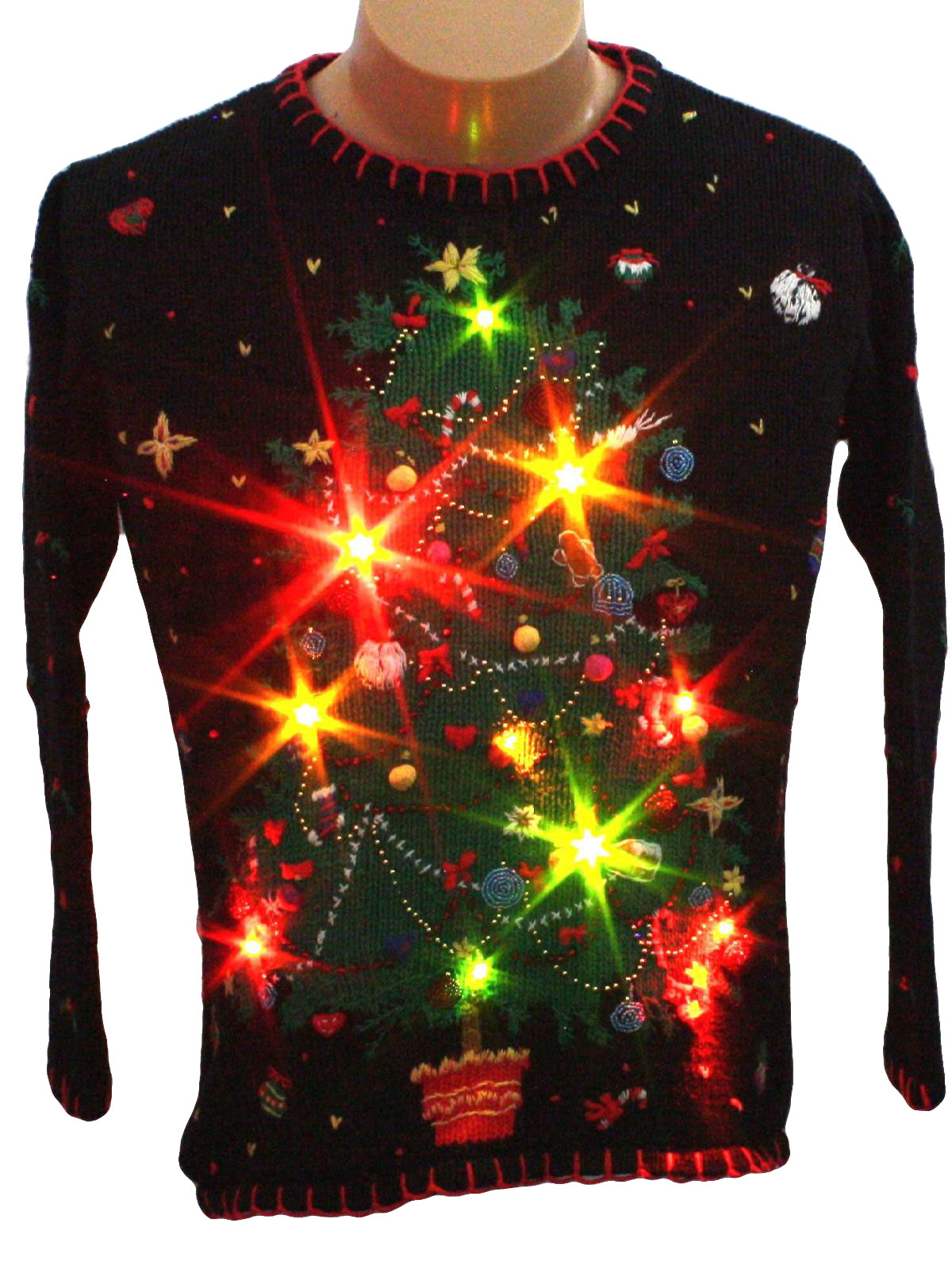 womens light up ugly christmas sweater designers original studio womens black background cotton ramie longsleeve pullover light up 10 removable battery