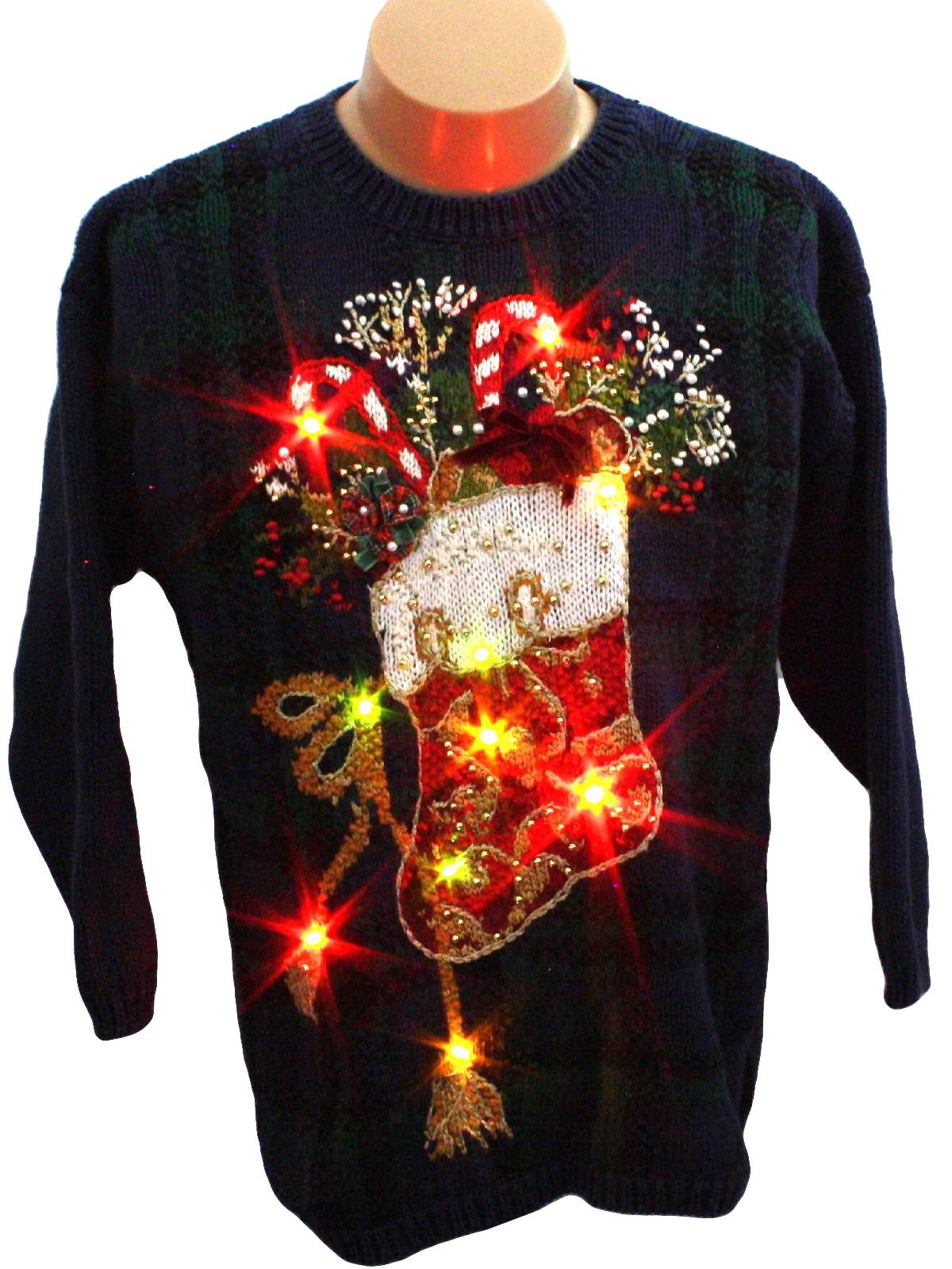 Womens Light Up Ugly Christmas Sweater Tiara Petites