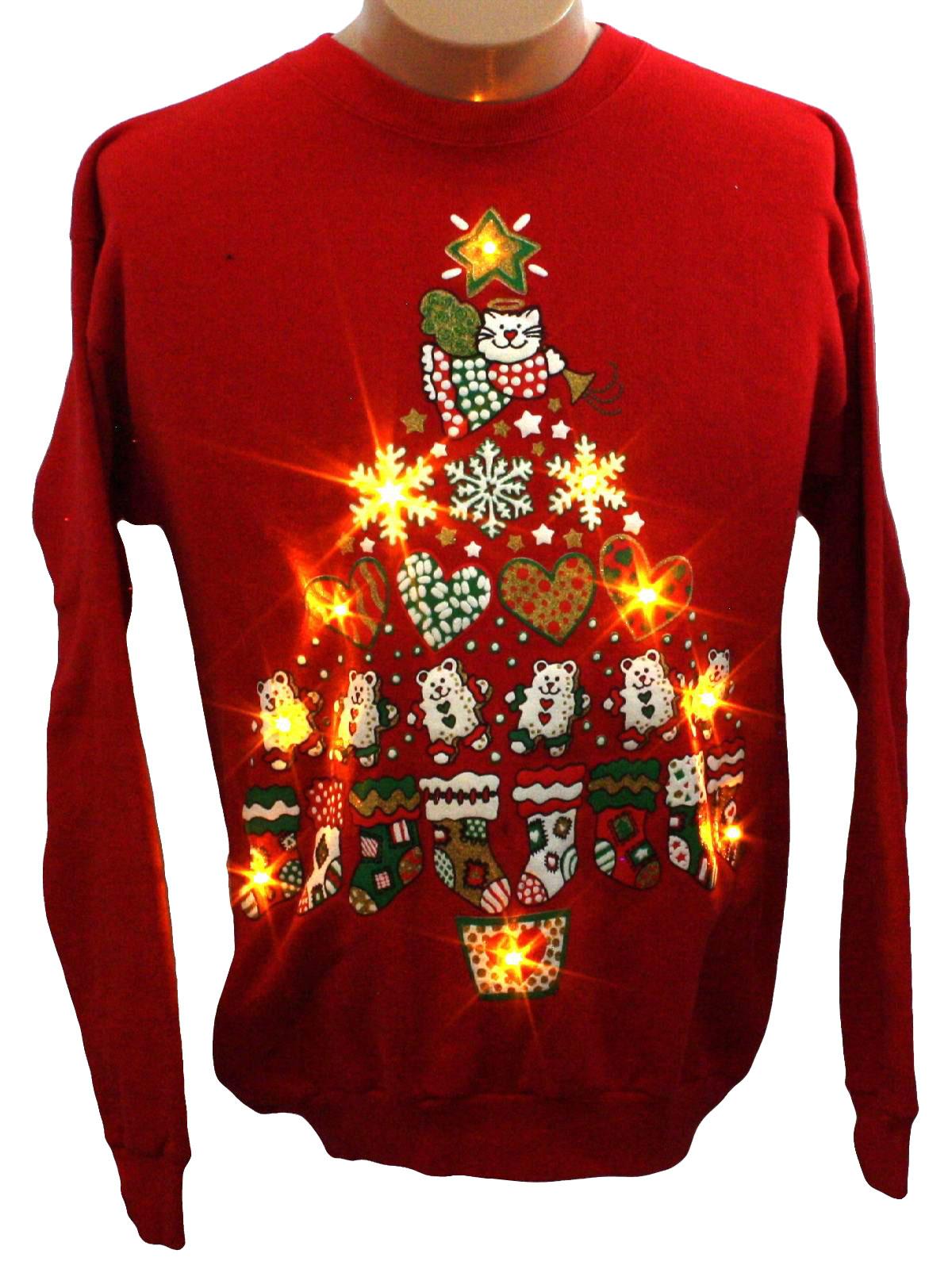 Womens Cat Tastic Light Up Ugly Christmas Sweatshirt