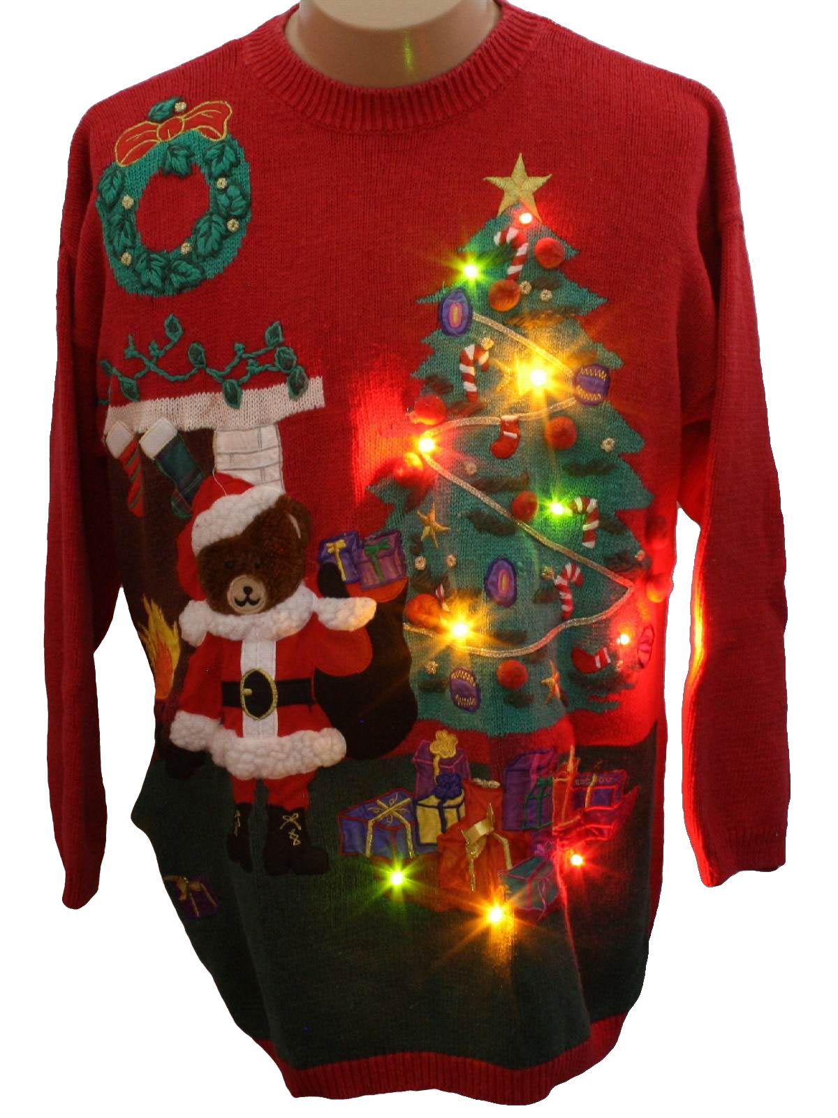 Bear Riffic Lightup Ugly Christmas Sweater White Stag Unisex Red Background Cotton Ramie