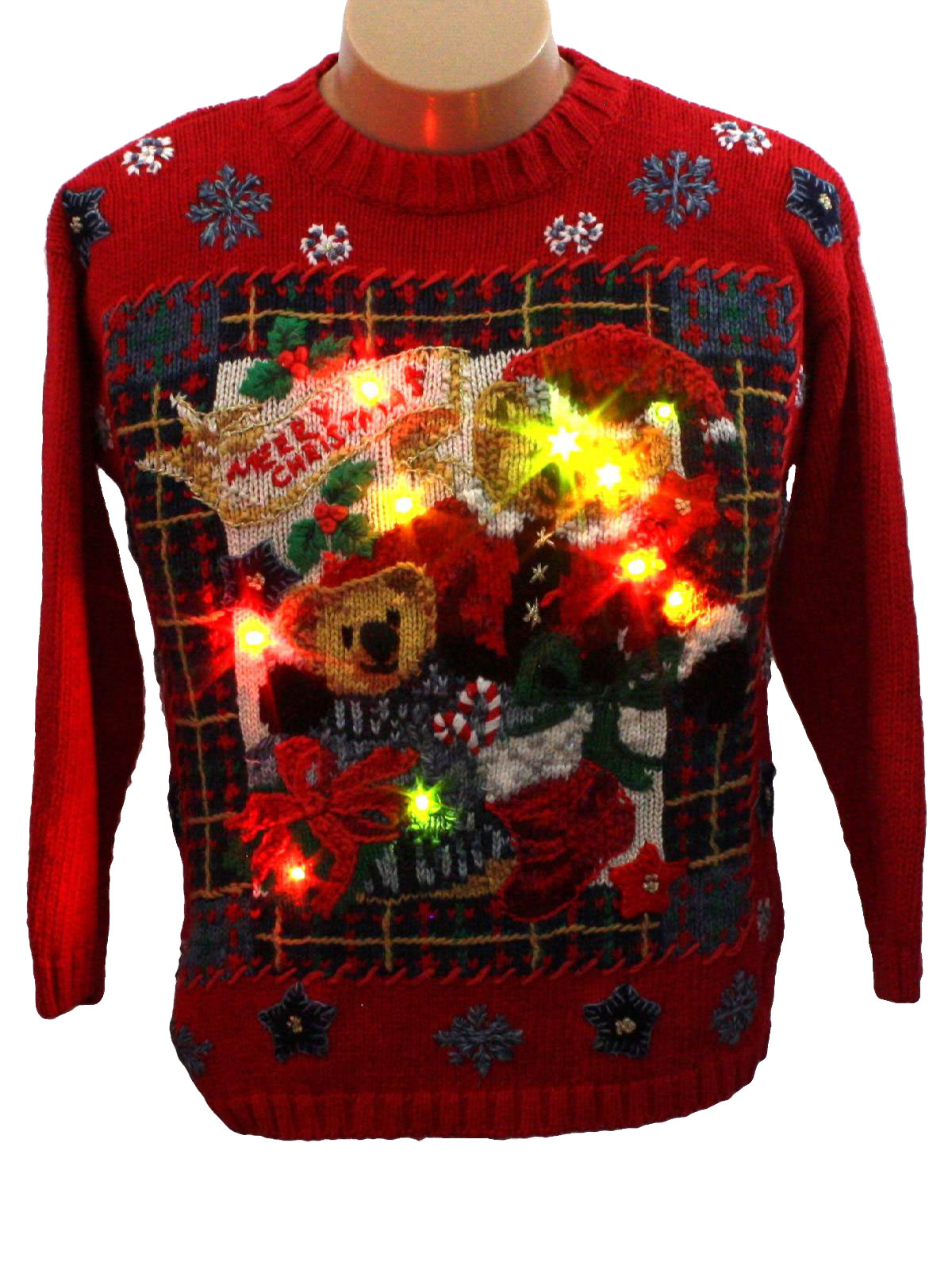 90s Christmas Sweaters.Tiara Petites Womens Girls Bear Riffic Lightup Ugly Christmas Sweater