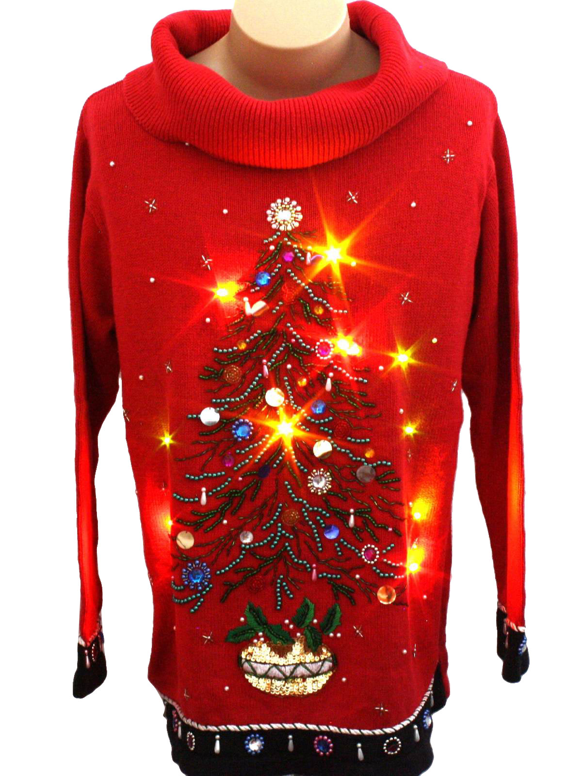 Womens Multicolor Lightup Ugly Christmas Sweater Vest-Designer Originals Studio- Womens black background cotton ramie blend button front Ugly Christmas Multicolor Flashing Lightup (10 super bright removeable MULTICOLOR Flashing or Solid lit dual mode LED lights powered by included L4 watch Batteries) Sweater Vest with veed neckline.