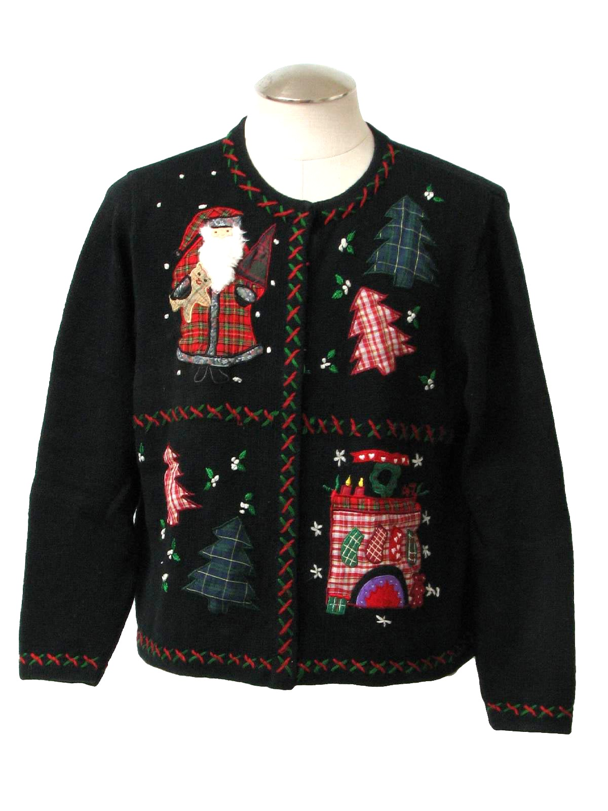 Womens Ugly Christmas Sweater All Points Womens Black Background Cotton Ramie Blend Button