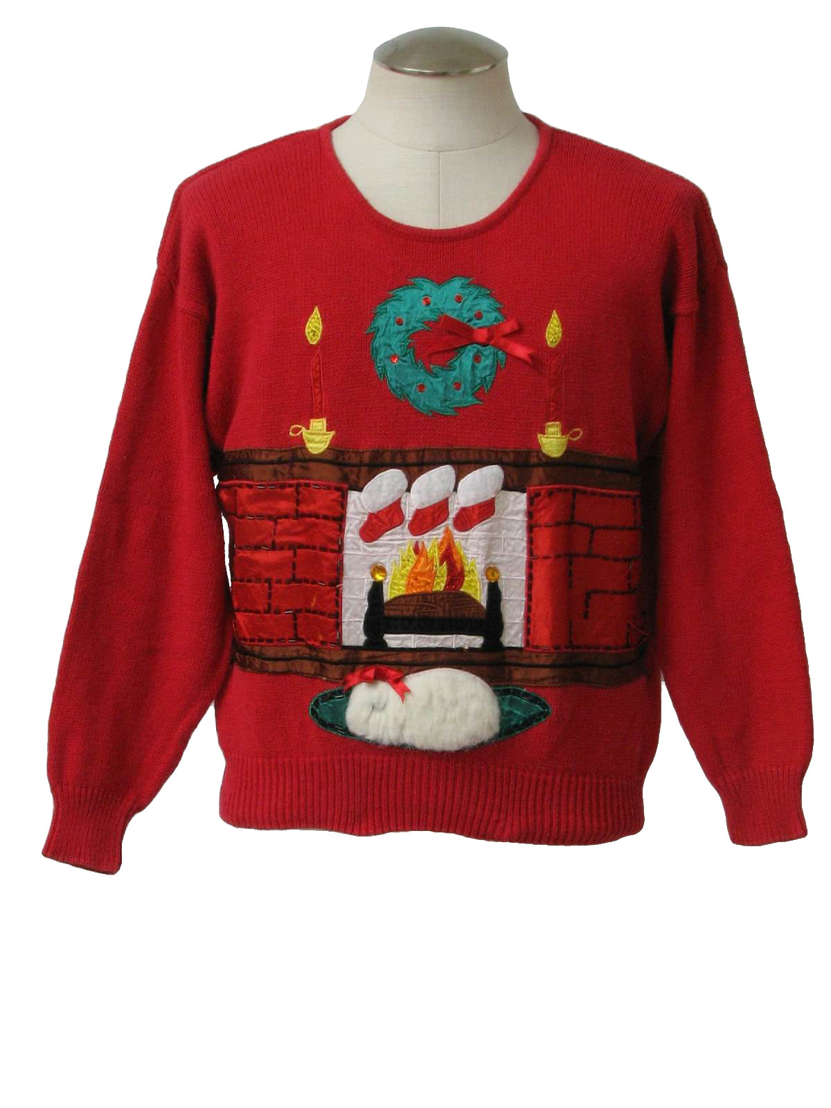 Womens Ugly Christmas Sweater Marnie West Womens Red Background Acrylic Longsleeve Pullover