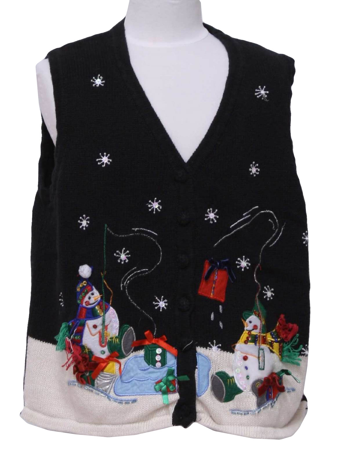 Womens or girls fishing snowmen ugly christmas sweater for Fishing christmas sweater
