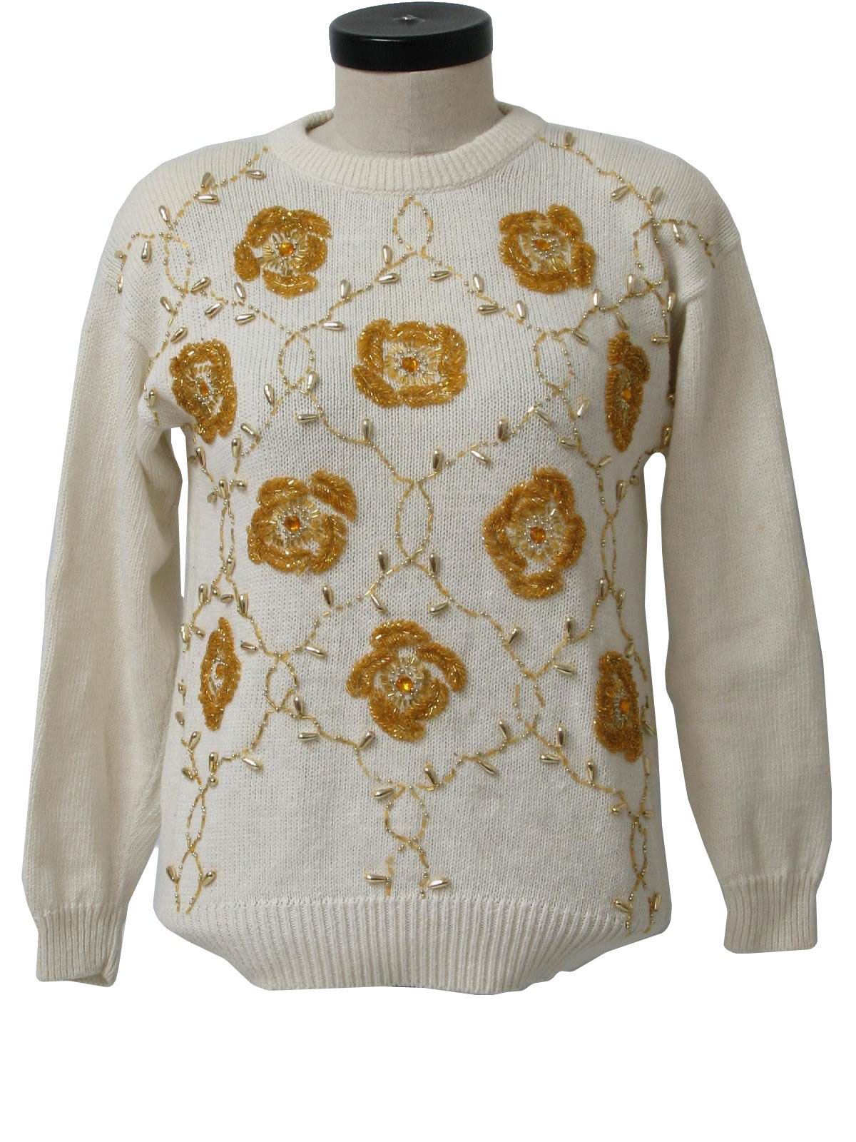 ... sweater with gold beaded floral print all over the front, plain cream