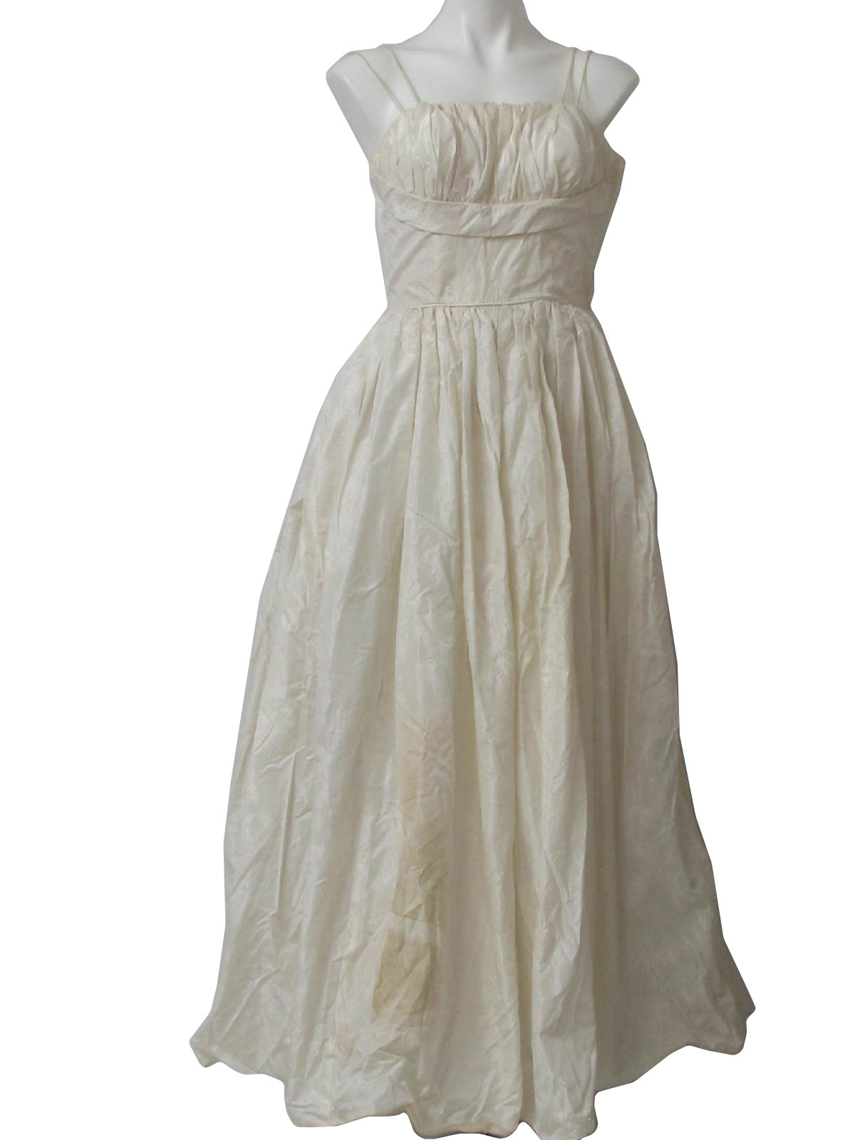 Retro 50\'s Cocktail Dress: 50s -Missing Label- Womens off white ...