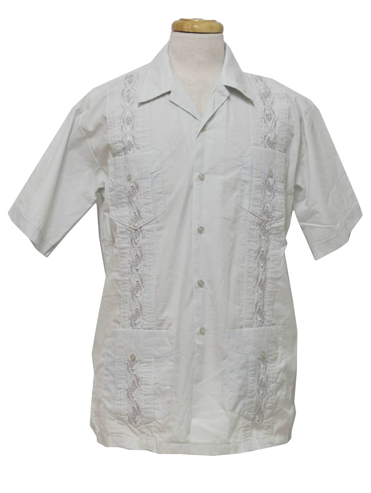 Vintage 80s Guayabera Shirt A Trip To New York Mens Very Pale Celedon Cotton And Polyester Blend Short Sleeve Or Mexican Wedding