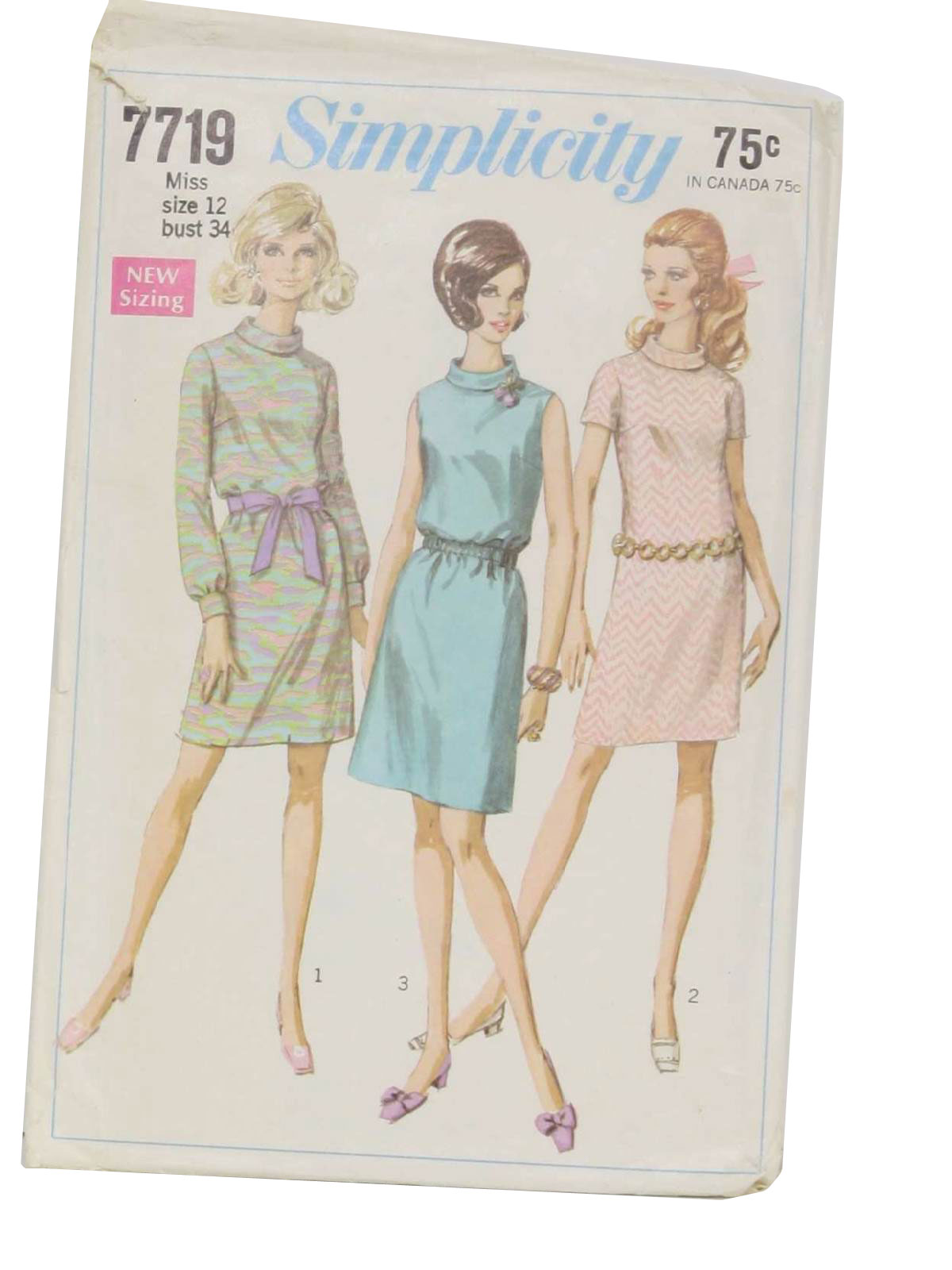 1960s sewing pattern 1968 simplicity pattern no 7719 womens 1960s sewing pattern 1968 simplicity pattern no 7719 womens sewing pattern for misses dress the dress with bias roll collar and back zipper has jeuxipadfo Choice Image