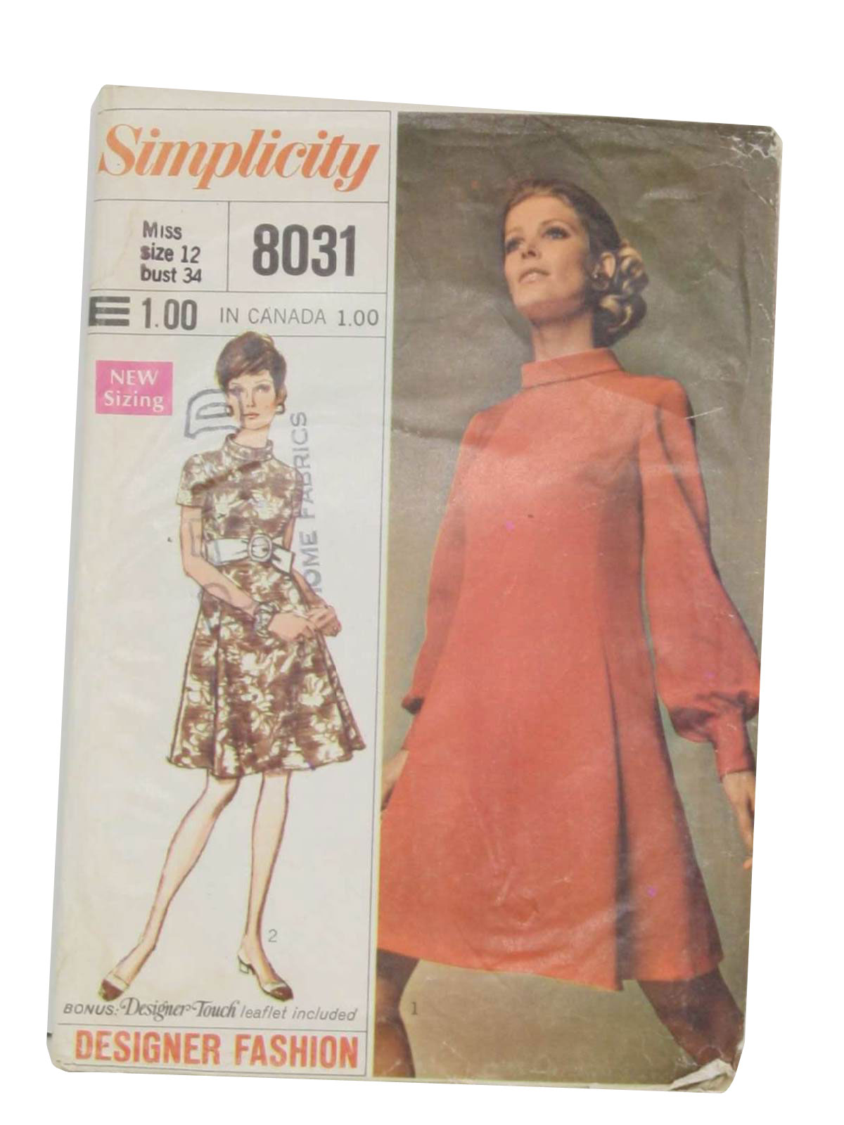Retro 1960s sewing pattern 1969 simplicity pattern no 8031 8031 womens sewing pattern for misses dress designer fashion including designer touch leaflet loops and buttons the lined dress without side seams jeuxipadfo Images