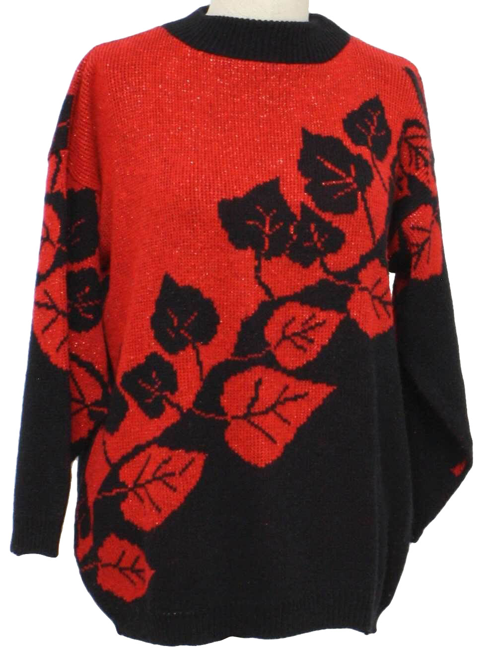 Retro 80s Sweater Rose 80s Rose Womens Black And Shiney Red