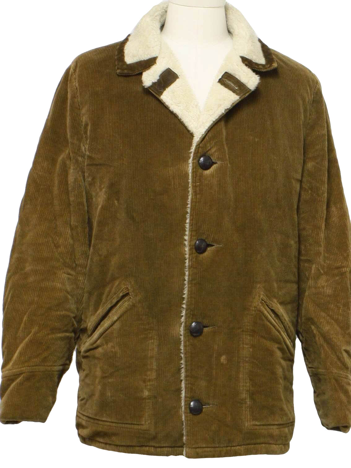 Mens jacket lined with fur -  Mens Brown Faux Leather Button Front Longsleeve Wide Wale Cotton Corduroy Car Coat With Fold Over Notched Collar Off White Acrylic Faux Fur Lining