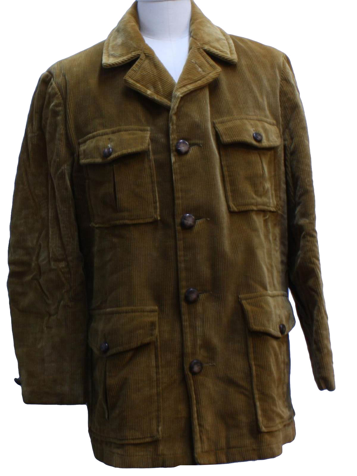 1970's Retro Jacket: 70s -Sears- Mens dark tan cotton ...