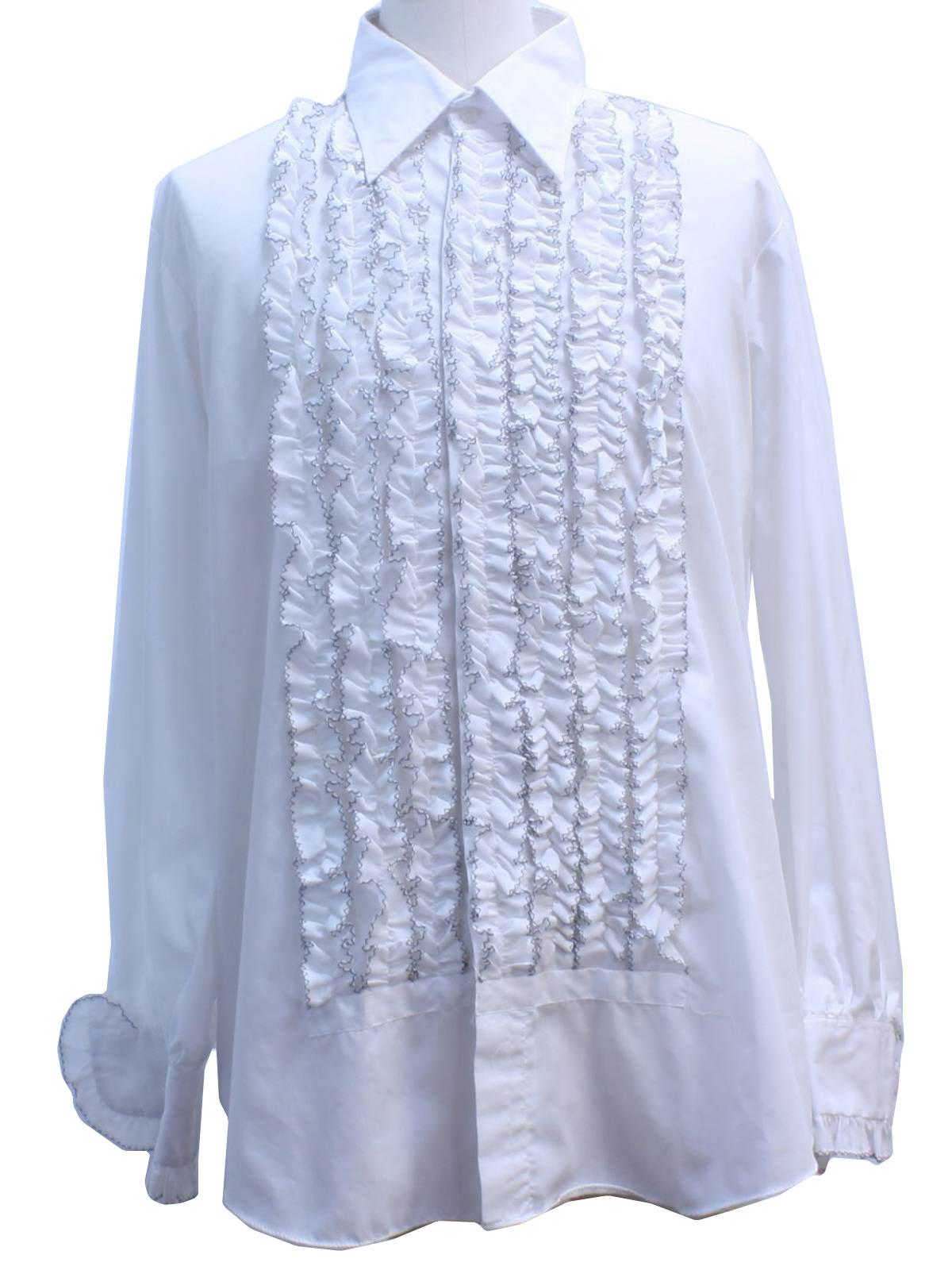 1970s ruffled tuxedo shirt