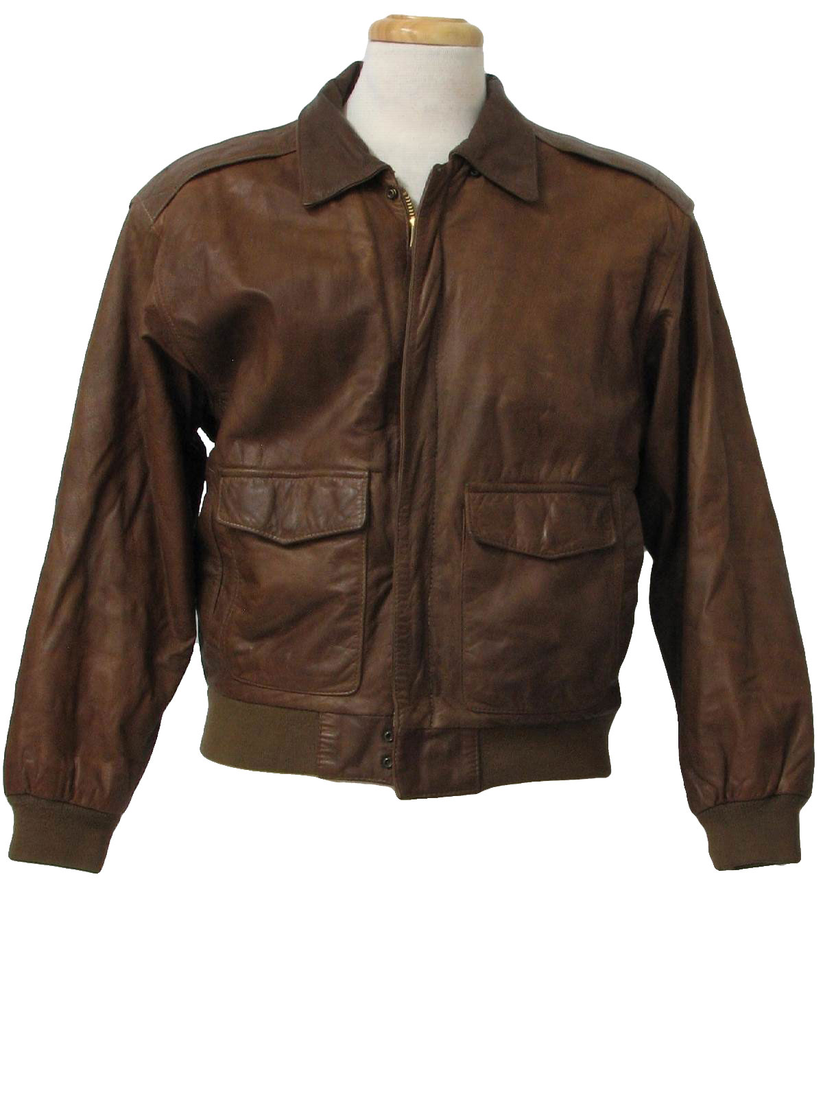 80s Retro Leather Jacket: 80s -H R- Mens brown soft smooth leather ...