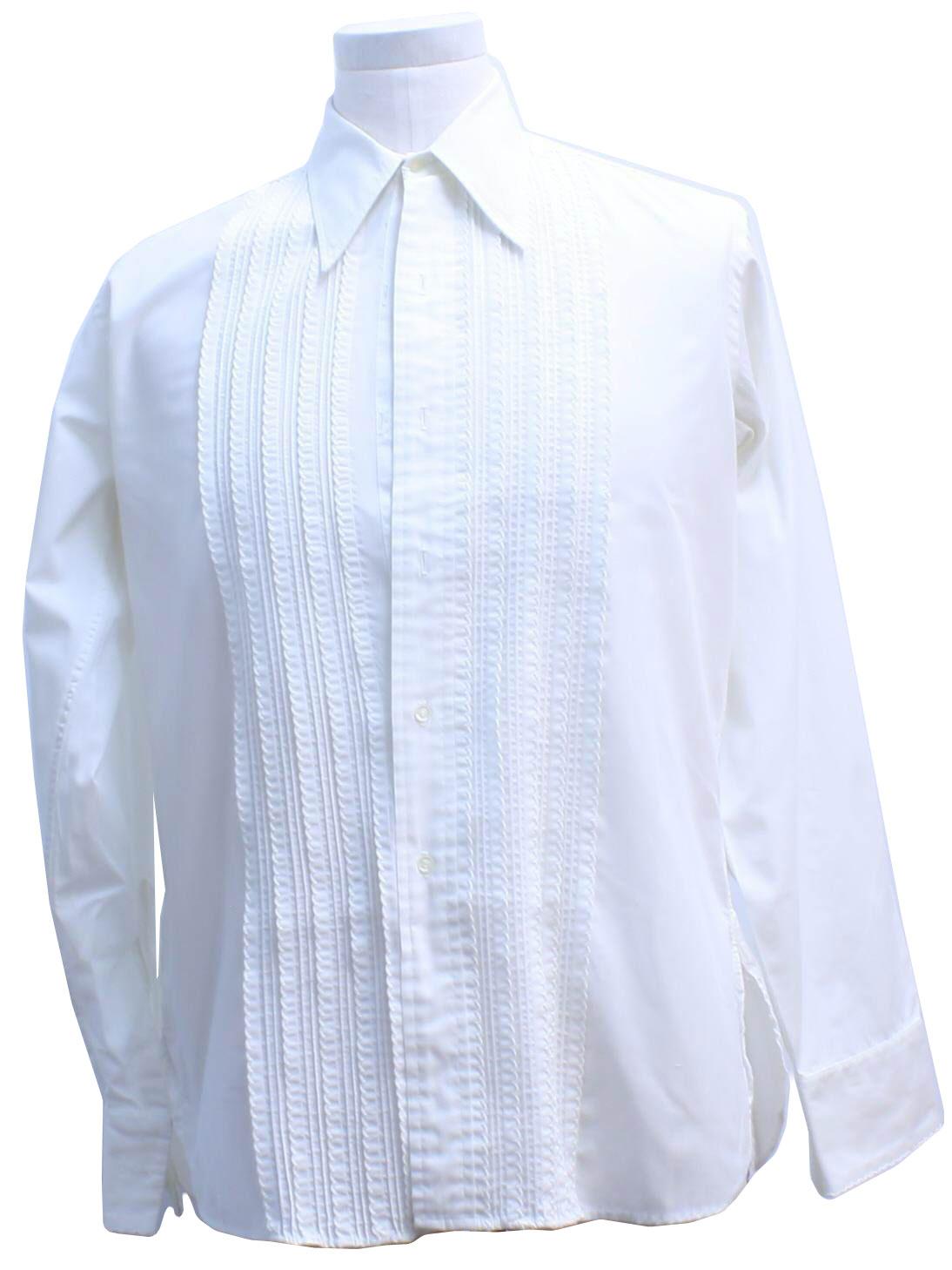 1970 39 s retro shirt 70s missing label mens white for Tuxedo shirt no studs