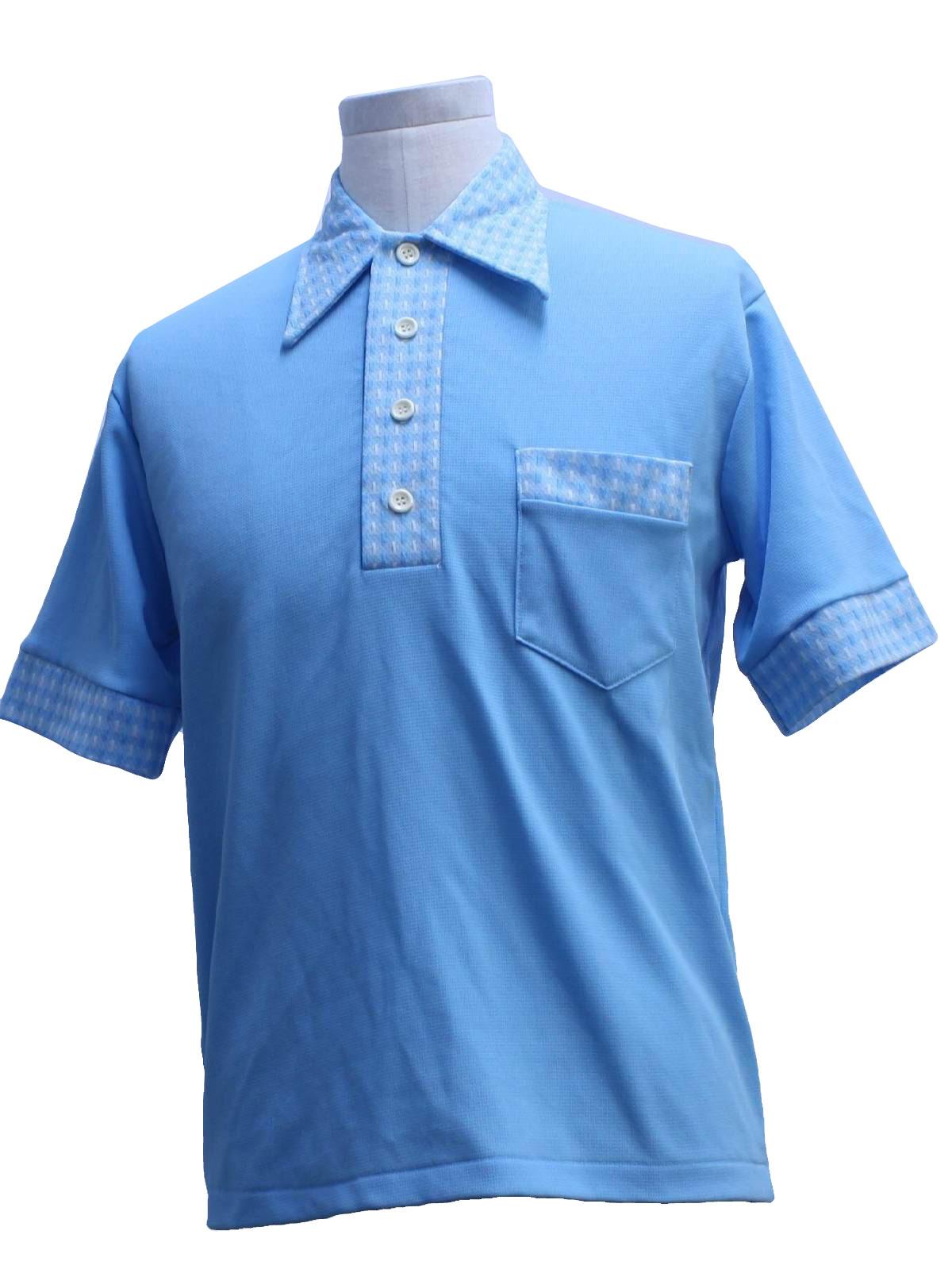 1970 39 S Vintage Jockey Knit Shirt 70s Jockey Mens Sky