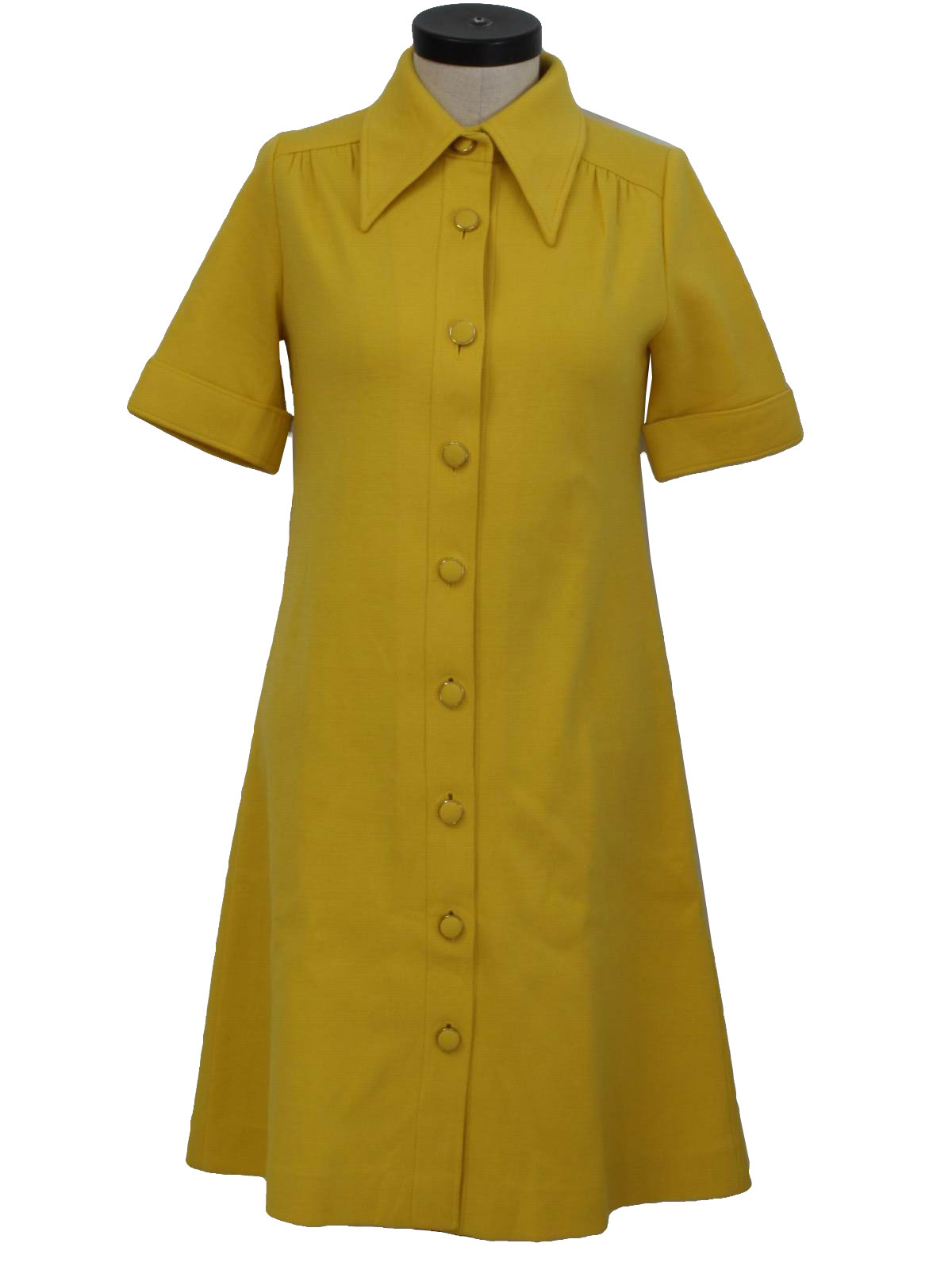 No Label Seventies Vintage Dress 70s No Label Womens Mustard Wool