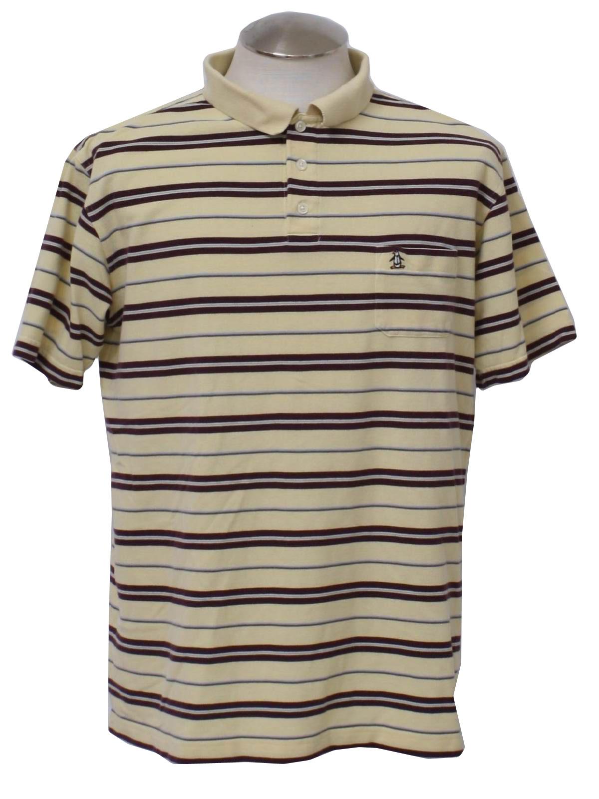 Retro 1980s shirt 80s penguin by munsingwear mens maize for Golf shirt with penguin logo